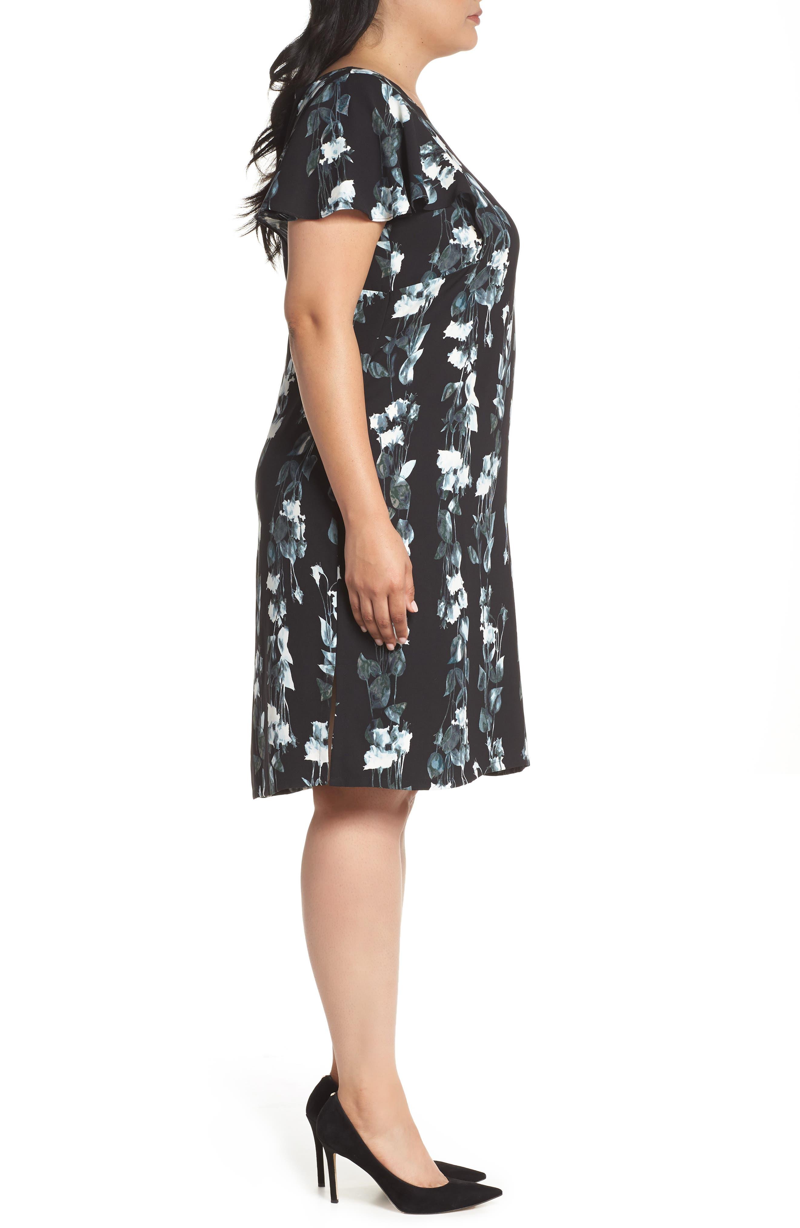 Flutter Sleeve Shift Dress,                             Alternate thumbnail 3, color,                             Black- Blue Vertical Florals