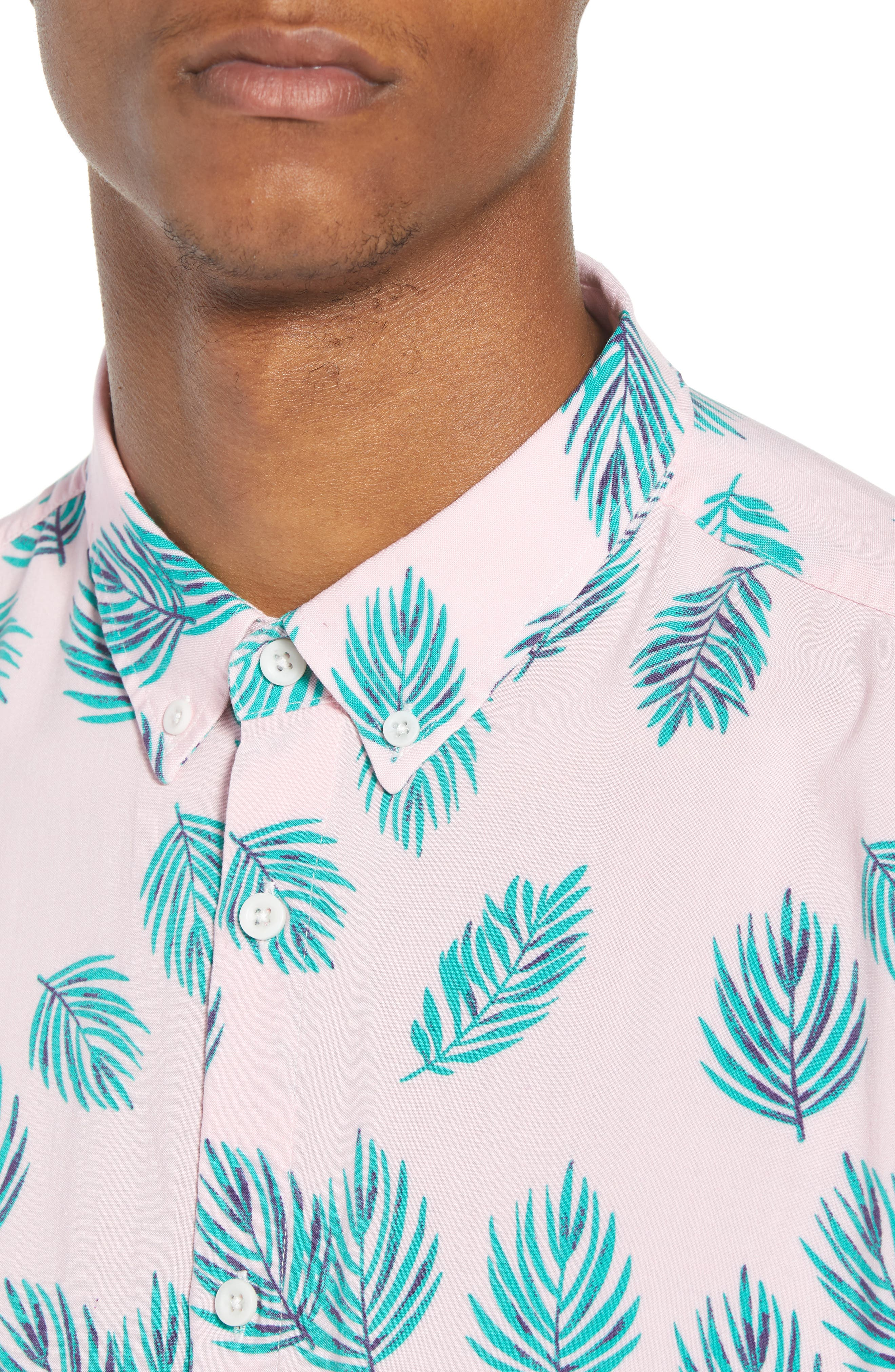 Holiday Woven Shirt,                             Alternate thumbnail 4, color,                             Pink Fern