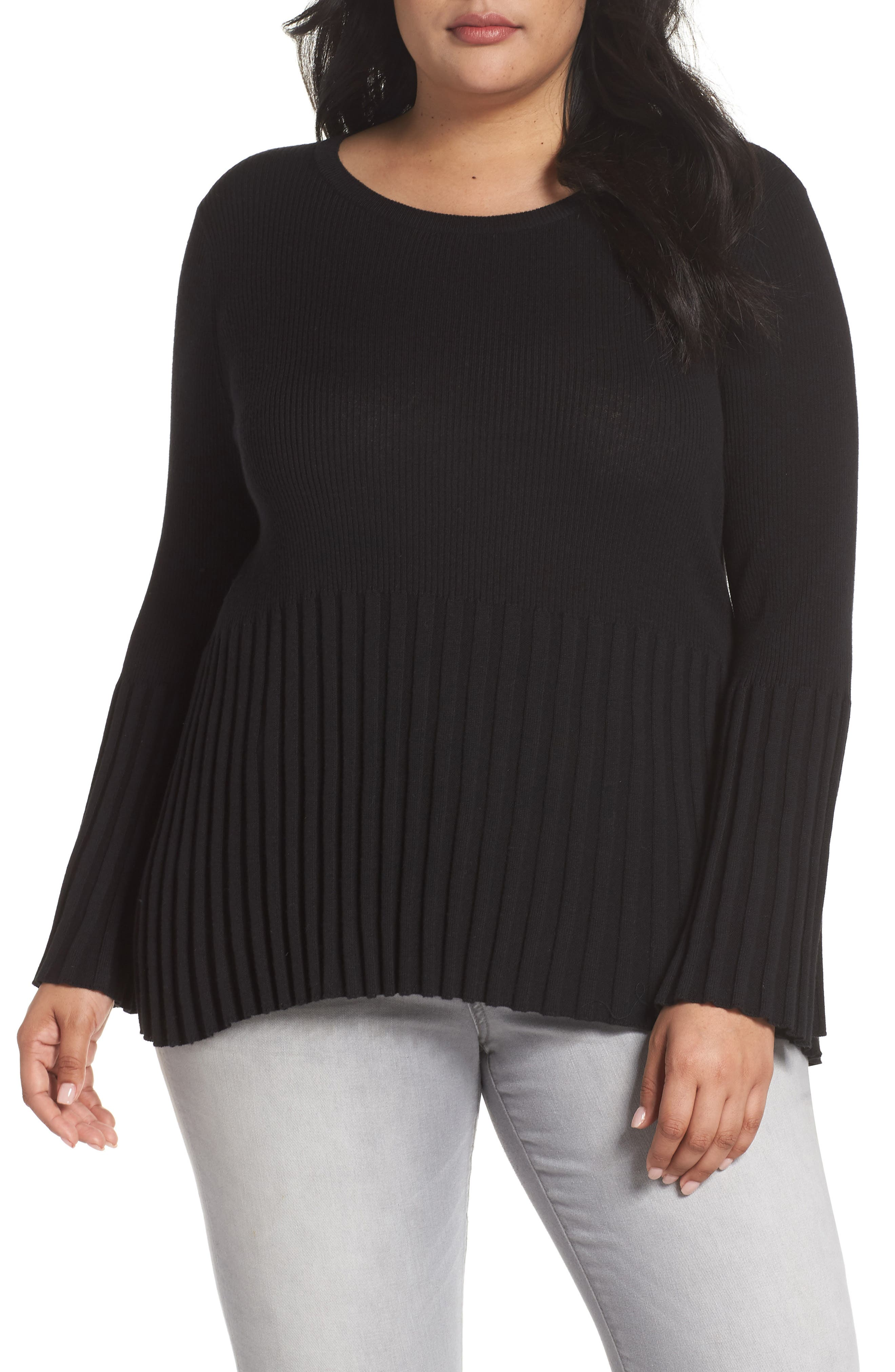Ribbed Cotton Blend Sweater,                         Main,                         color, Black