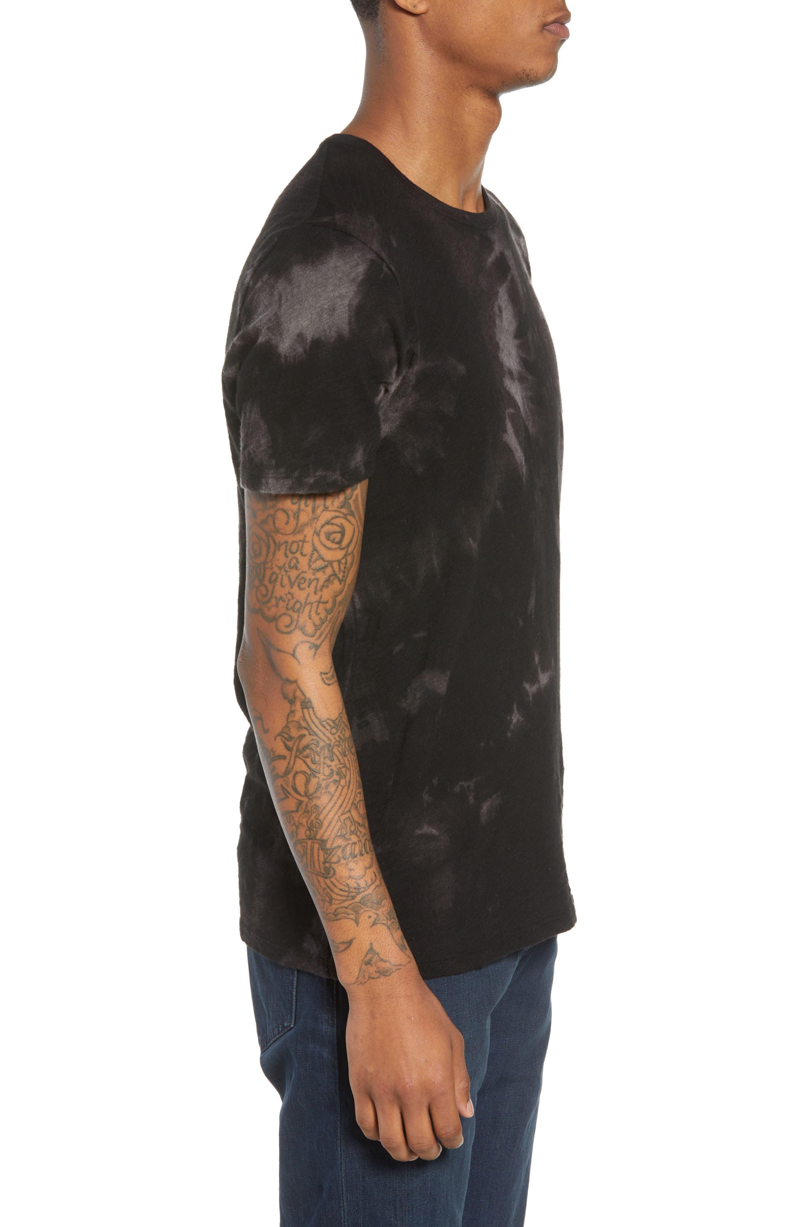Slub Tie Dye T-Shirt,                             Alternate thumbnail 3, color,                             Black