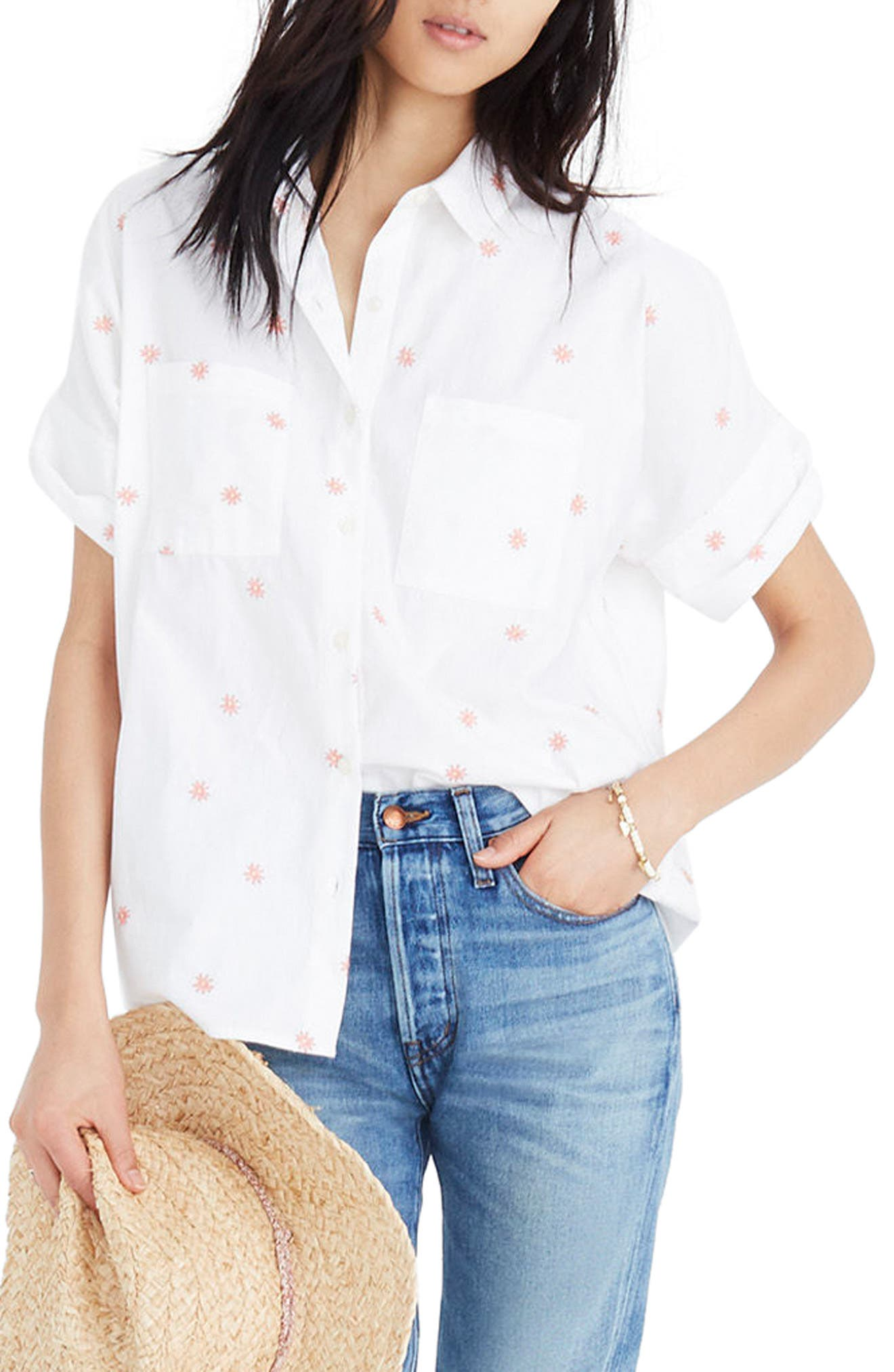 Daisy Embroidered Courier Shirt,                         Main,                         color, White Wash