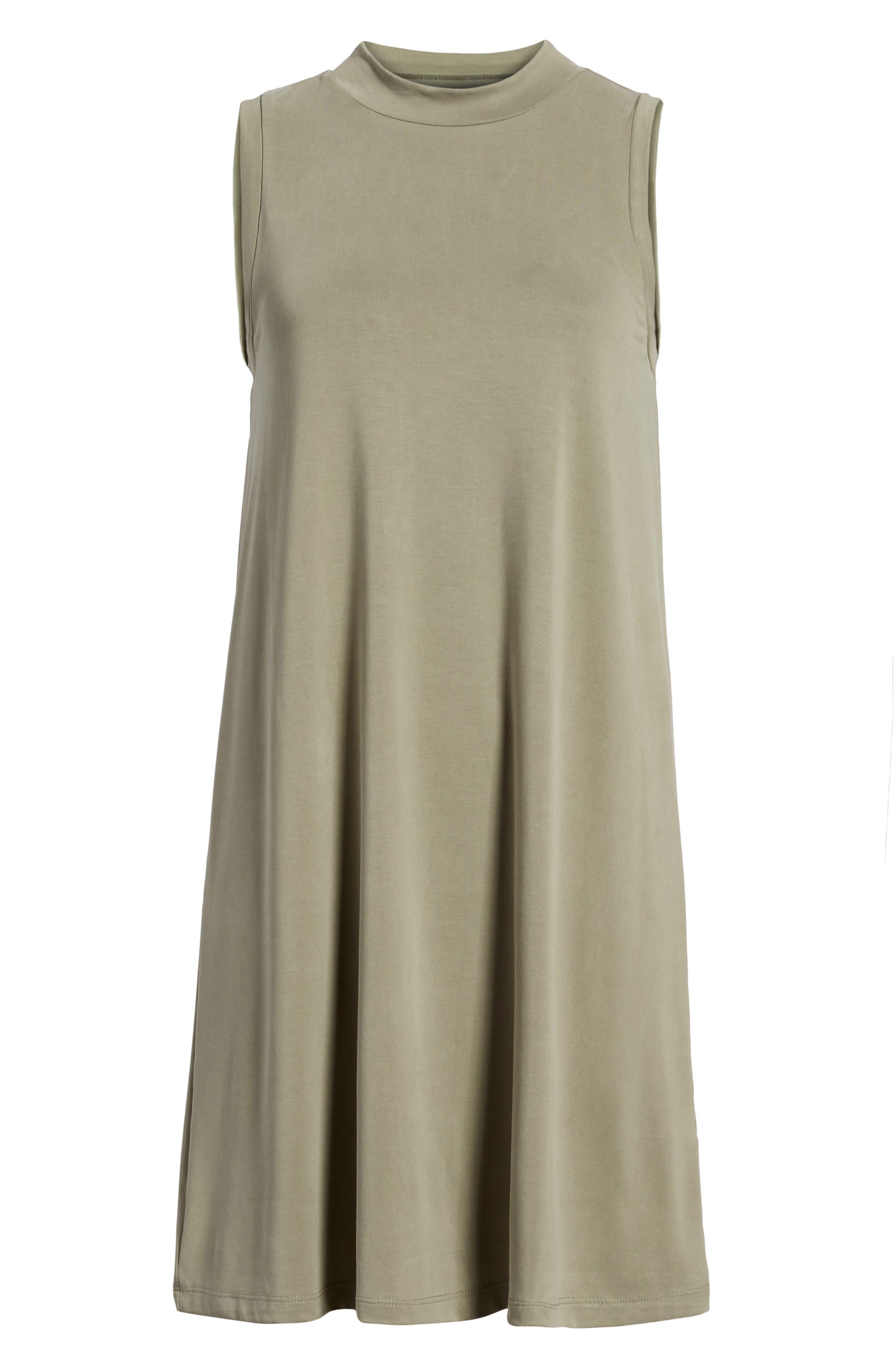 Sandwashed Mock Neck Tank Dress,                             Alternate thumbnail 6, color,                             Washed Olive