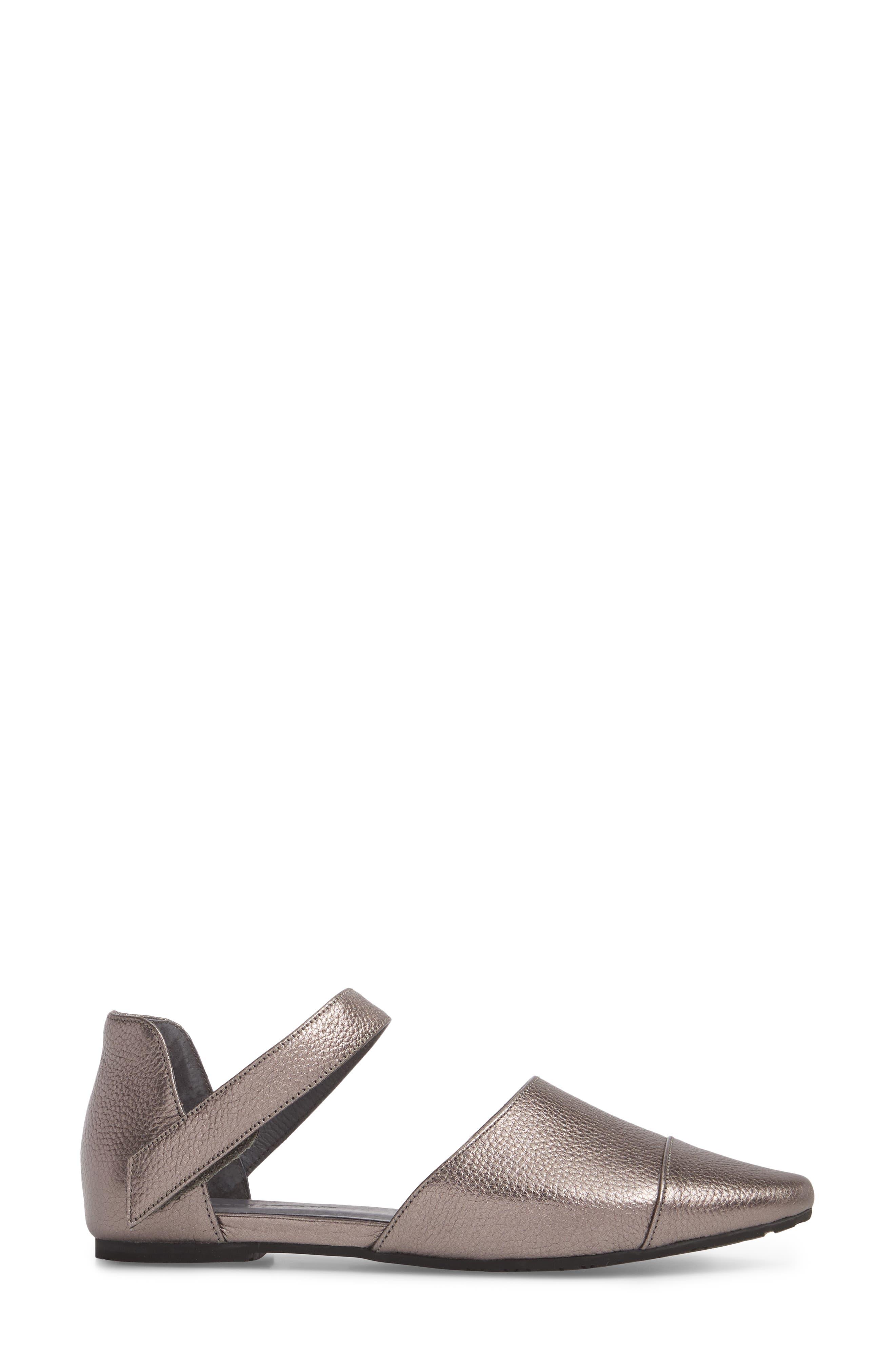 Gaia Pointy Toe Flat,                             Alternate thumbnail 3, color,                             Gunmetal Leather