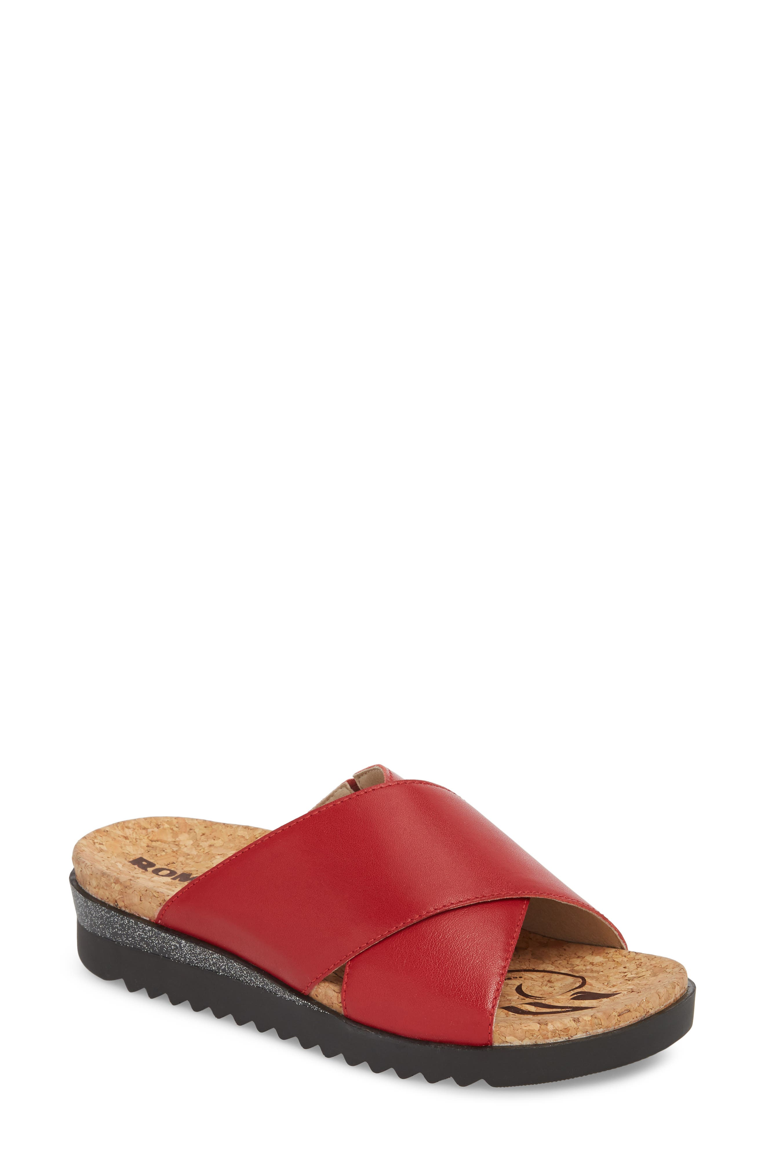 Hollywood 02 Slide Sandal,                             Main thumbnail 1, color,                             Red Leather