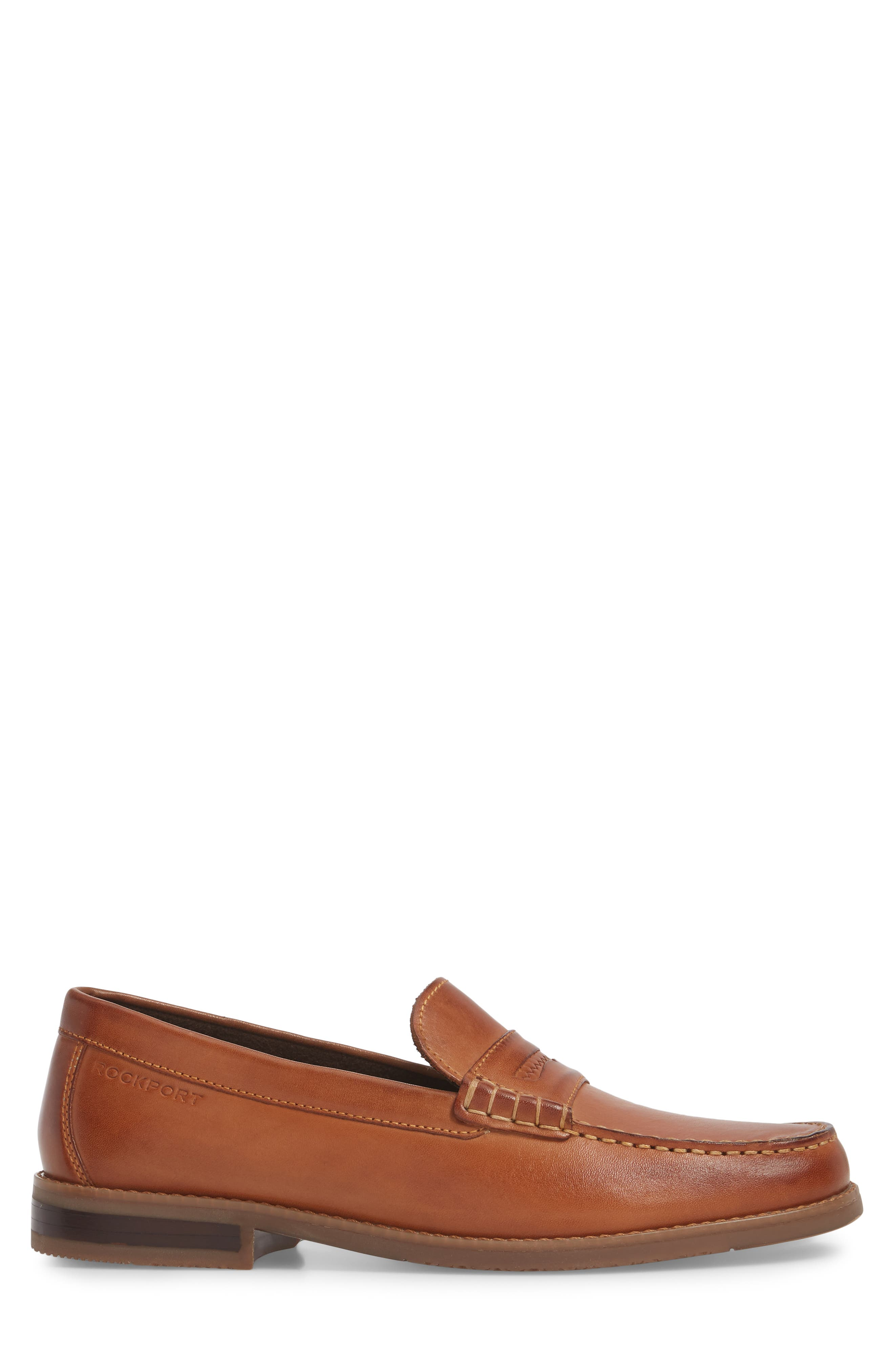 Cayleb Moc Toe Penny Loafer,                             Alternate thumbnail 3, color,                             Cognac Leather