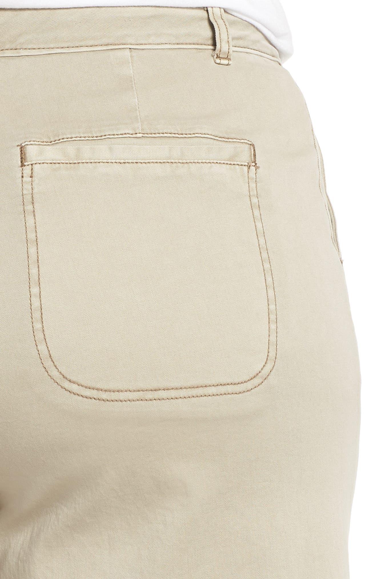 Wide Leg Stretch Cotton Twill Crop Pants,                             Alternate thumbnail 4, color,                             Tan Cobblestone