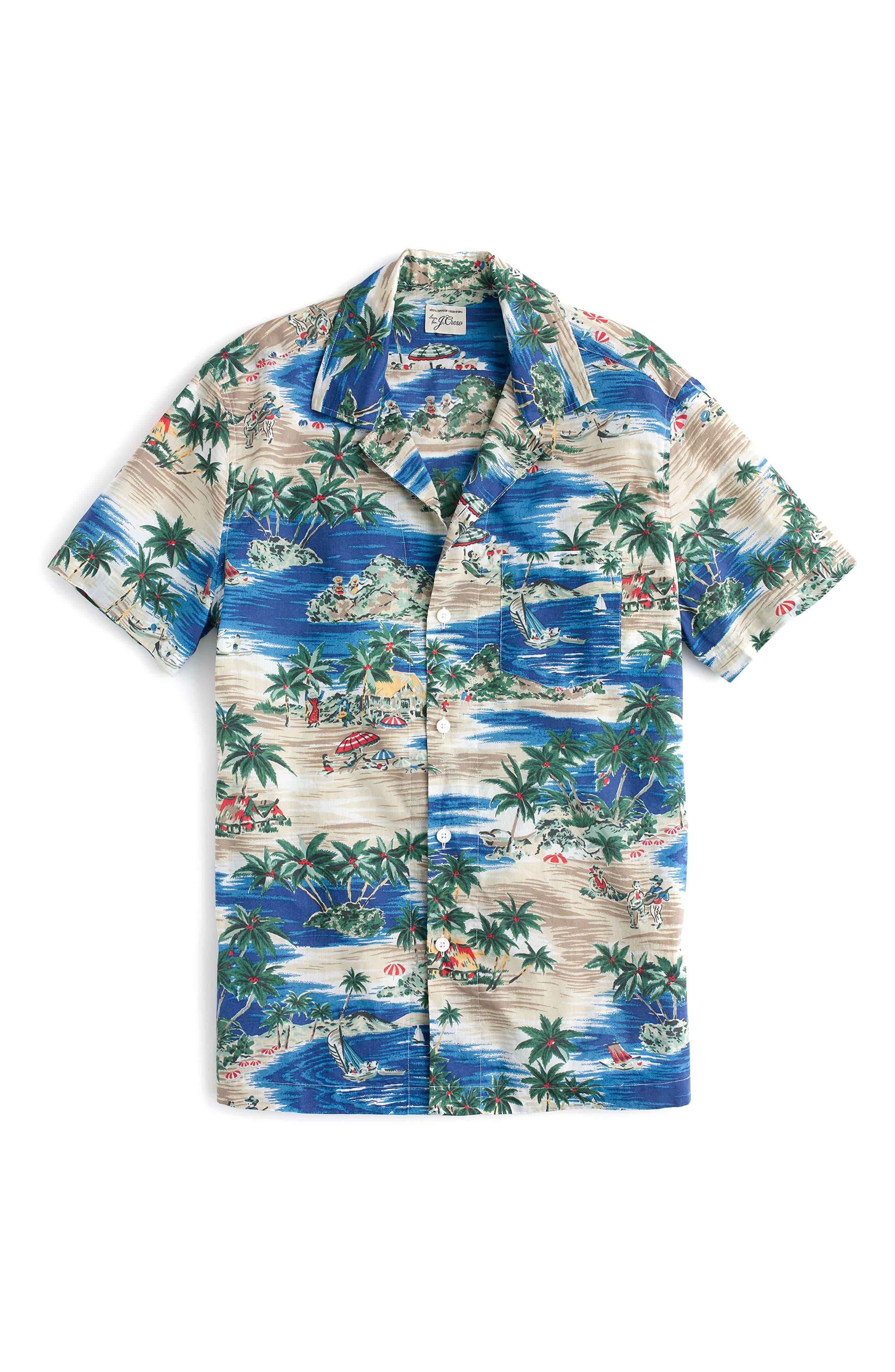 Slim Fit Island Print Sport Shirt,                             Main thumbnail 1, color,                             Deep Seas
