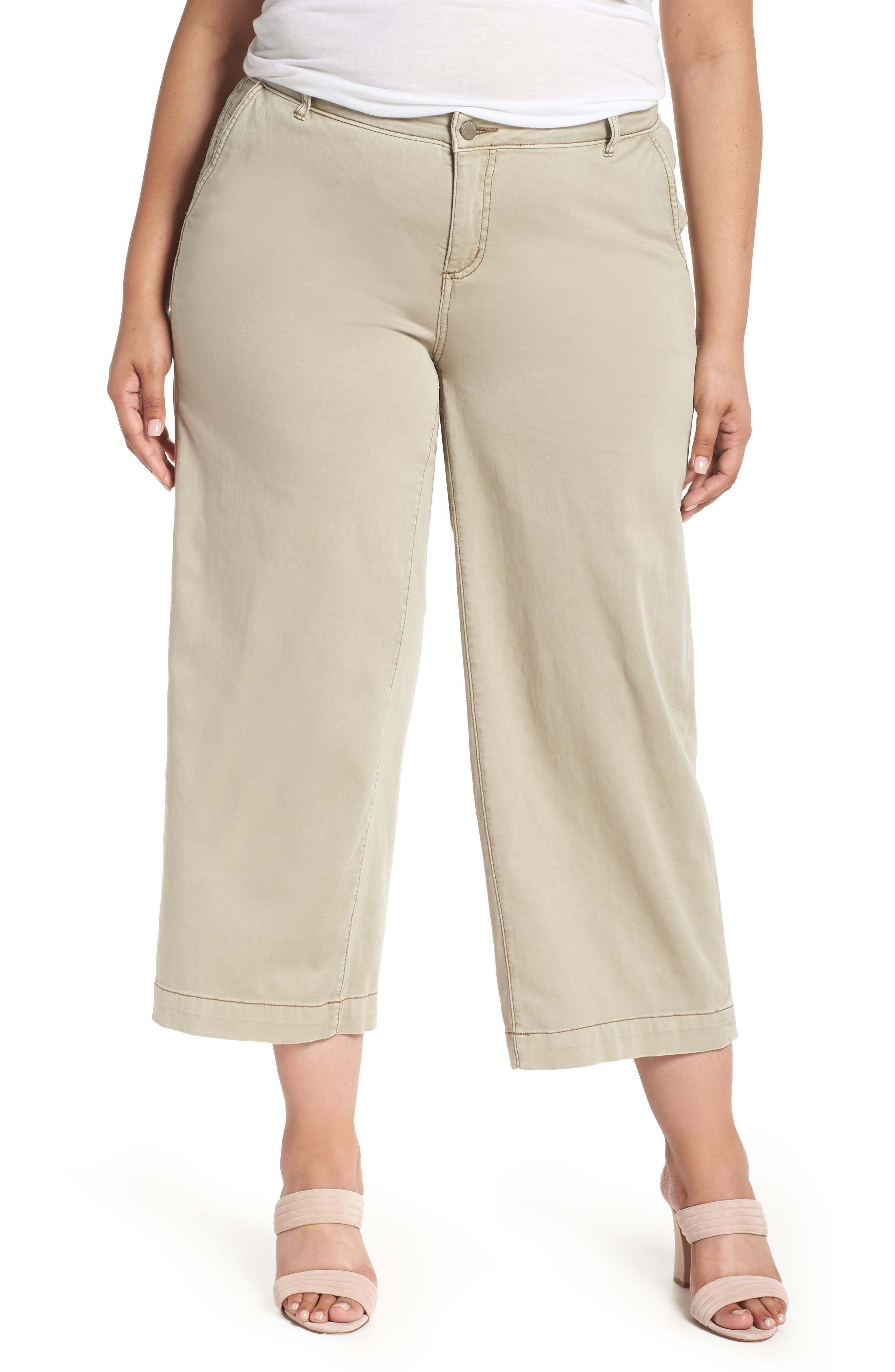 Wide Leg Stretch Cotton Twill Crop Pants,                             Main thumbnail 1, color,                             Tan Cobblestone