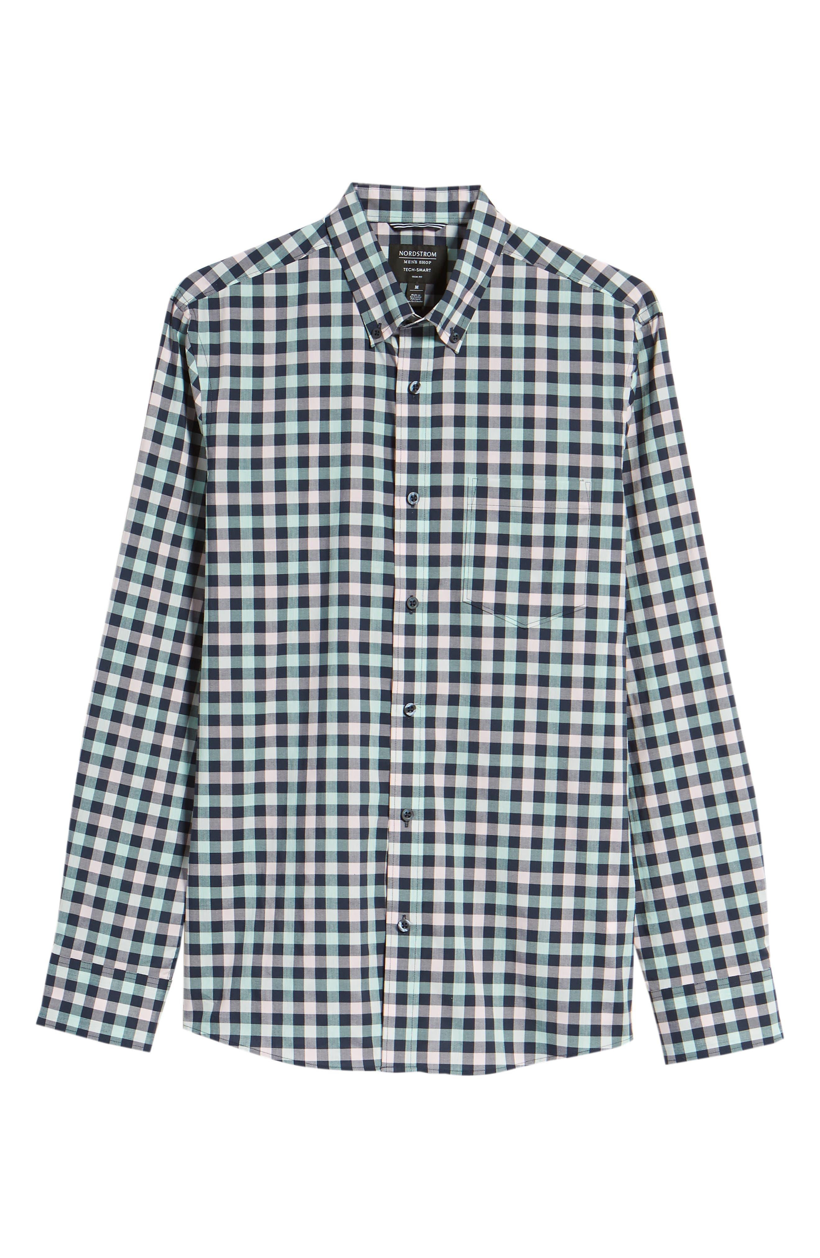 Tech-Smart Trim Fit Check Sport Shirt,                             Alternate thumbnail 6, color,                             Navy Iris Teal Check