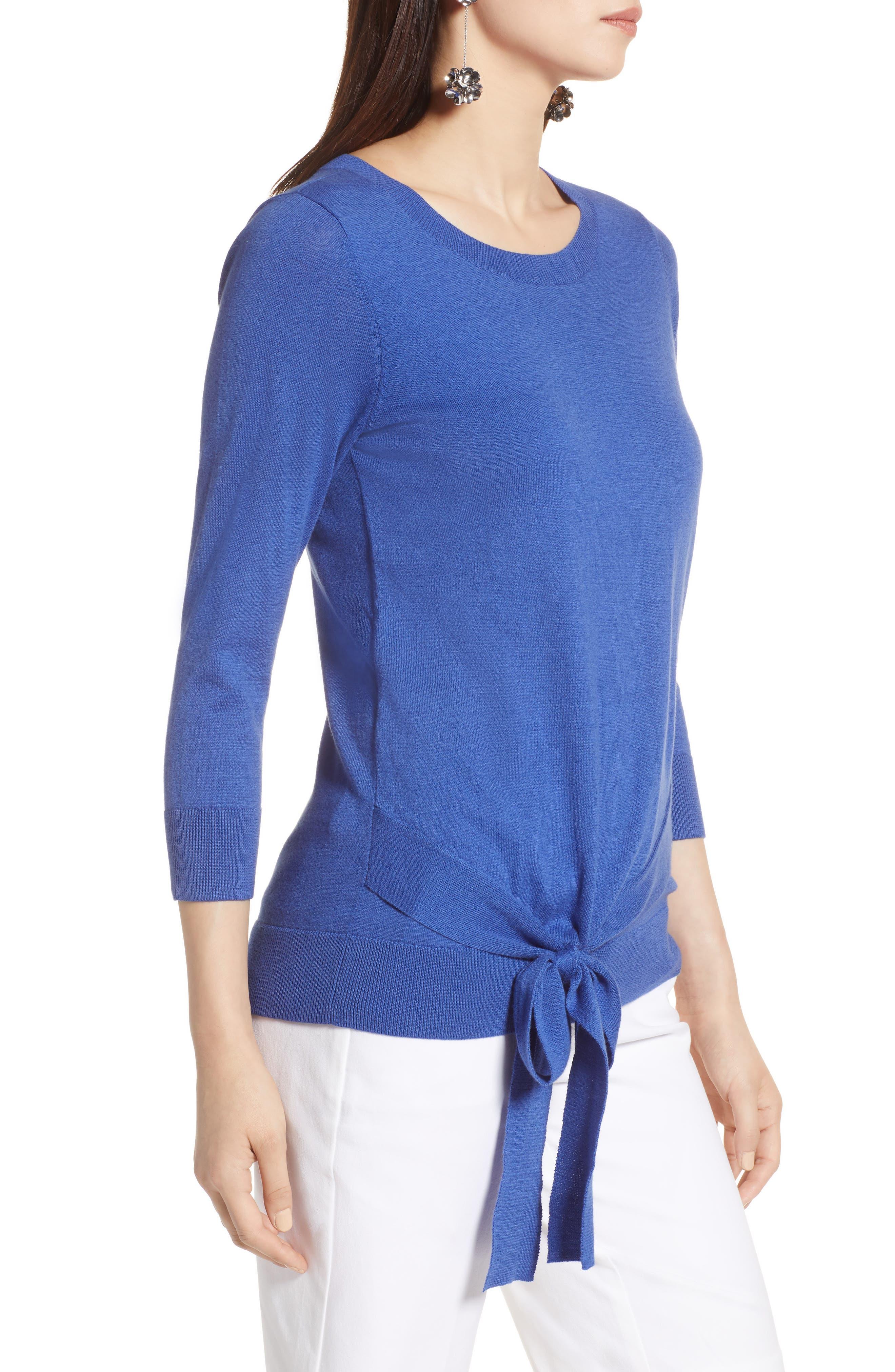Pima Cotton Blend Tie Sweater,                             Alternate thumbnail 3, color,                             Blue Marine