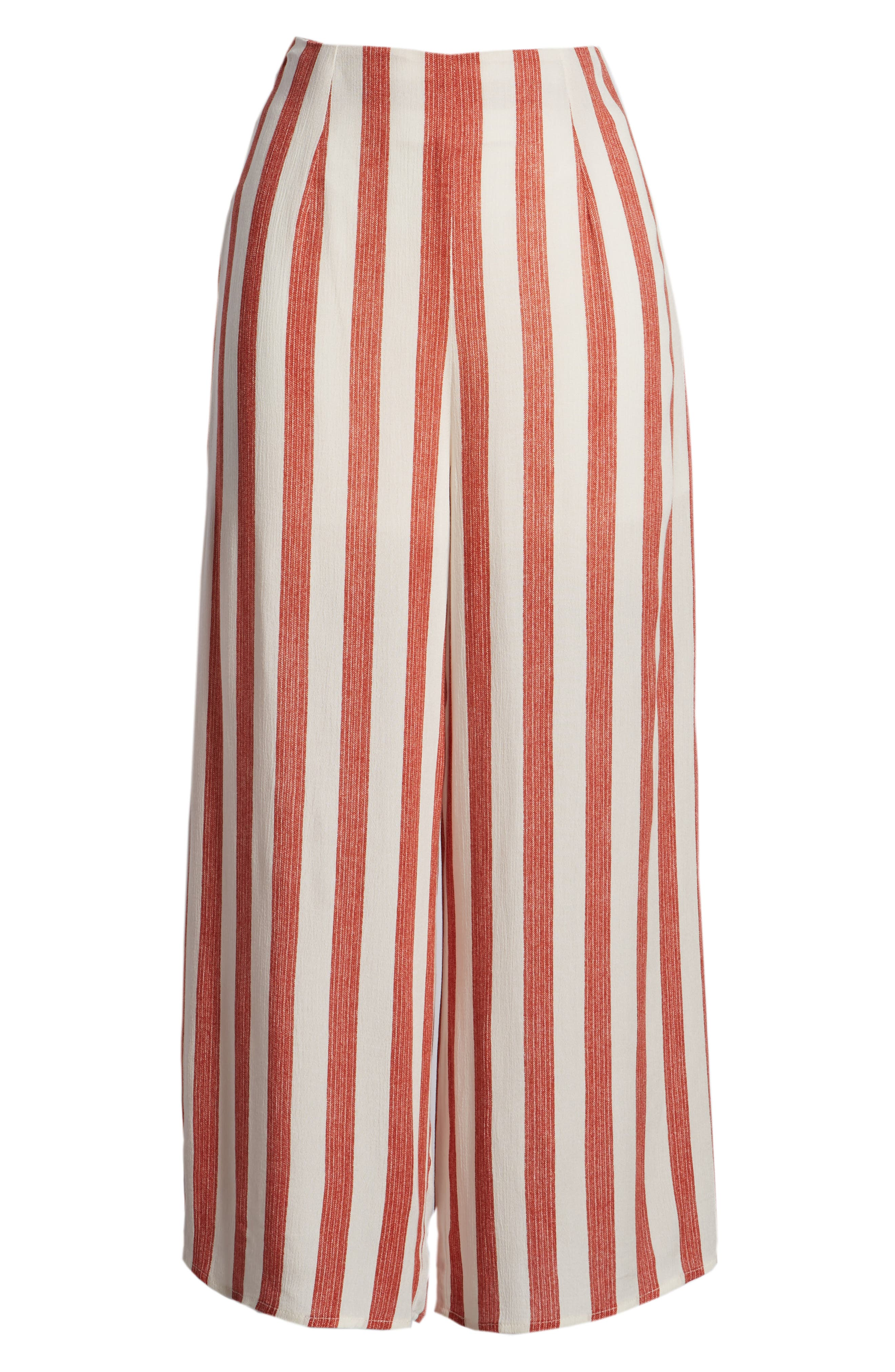 Stripe Culottes,                             Alternate thumbnail 8, color,                             Red/ Ivory