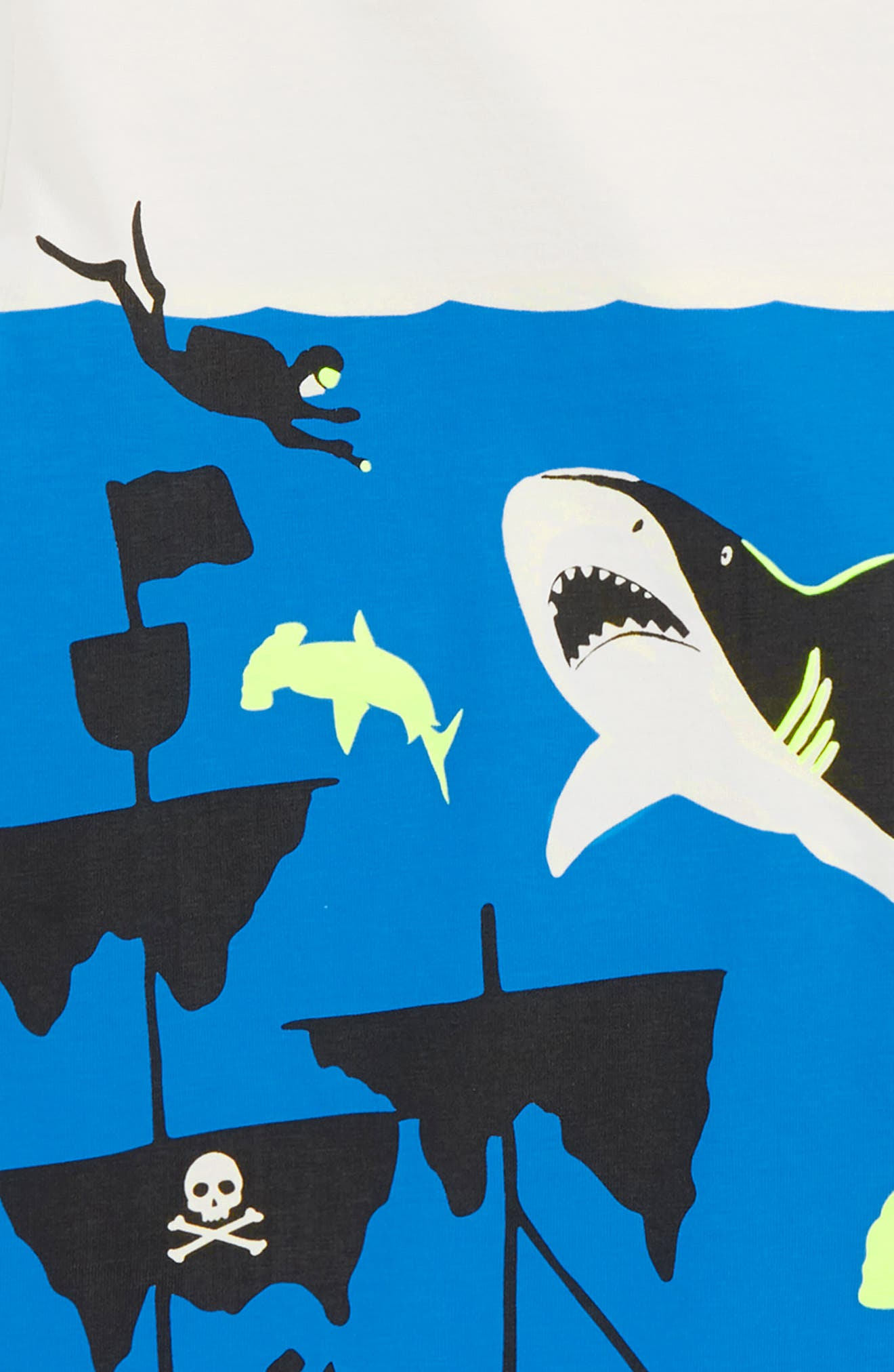Underwater Screenprint T-Shirt,                             Alternate thumbnail 2, color,                             Ecru Shark Shipwreck