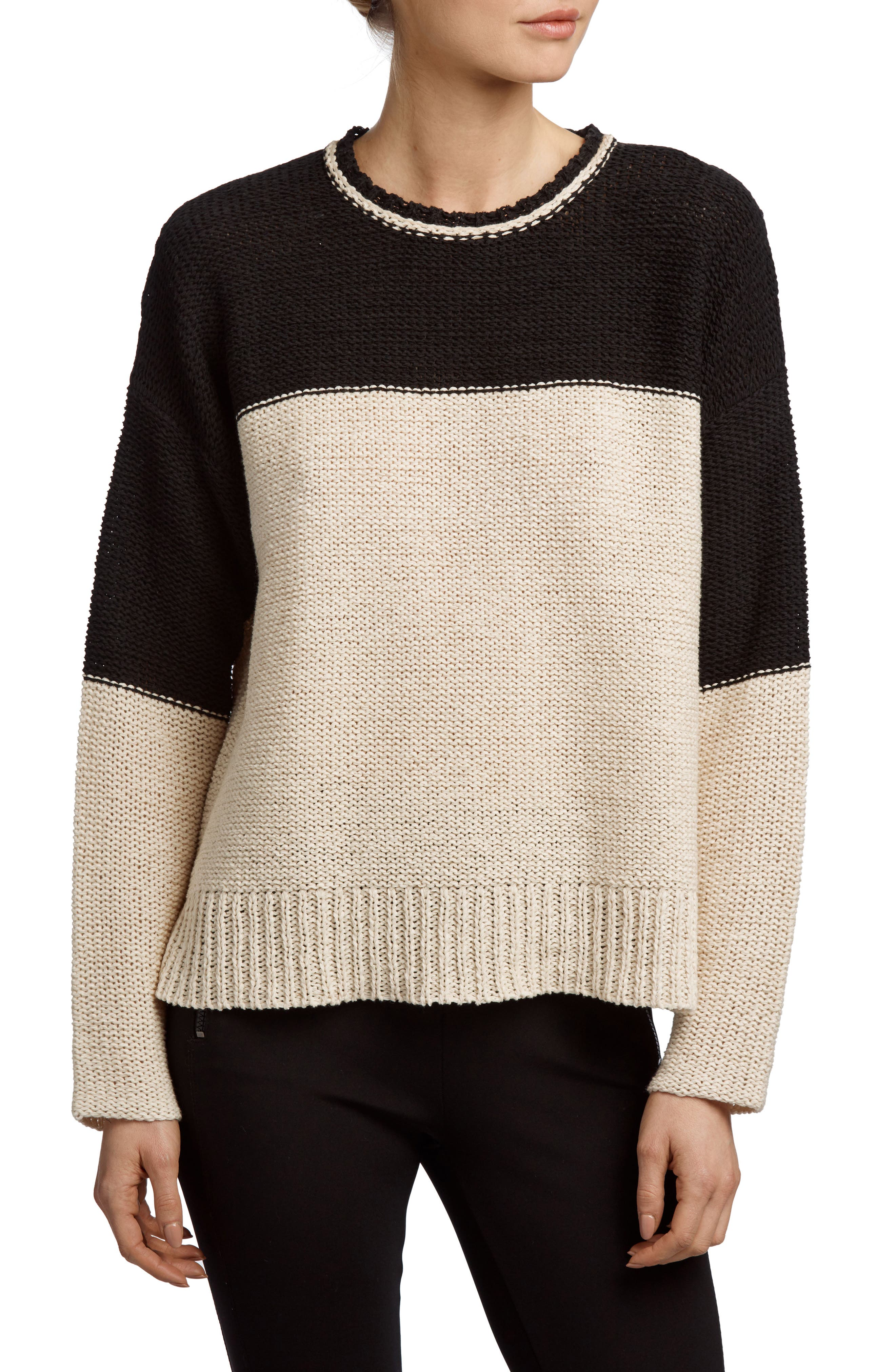 Crewneck Sweater,                         Main,                         color, Natural/ Black