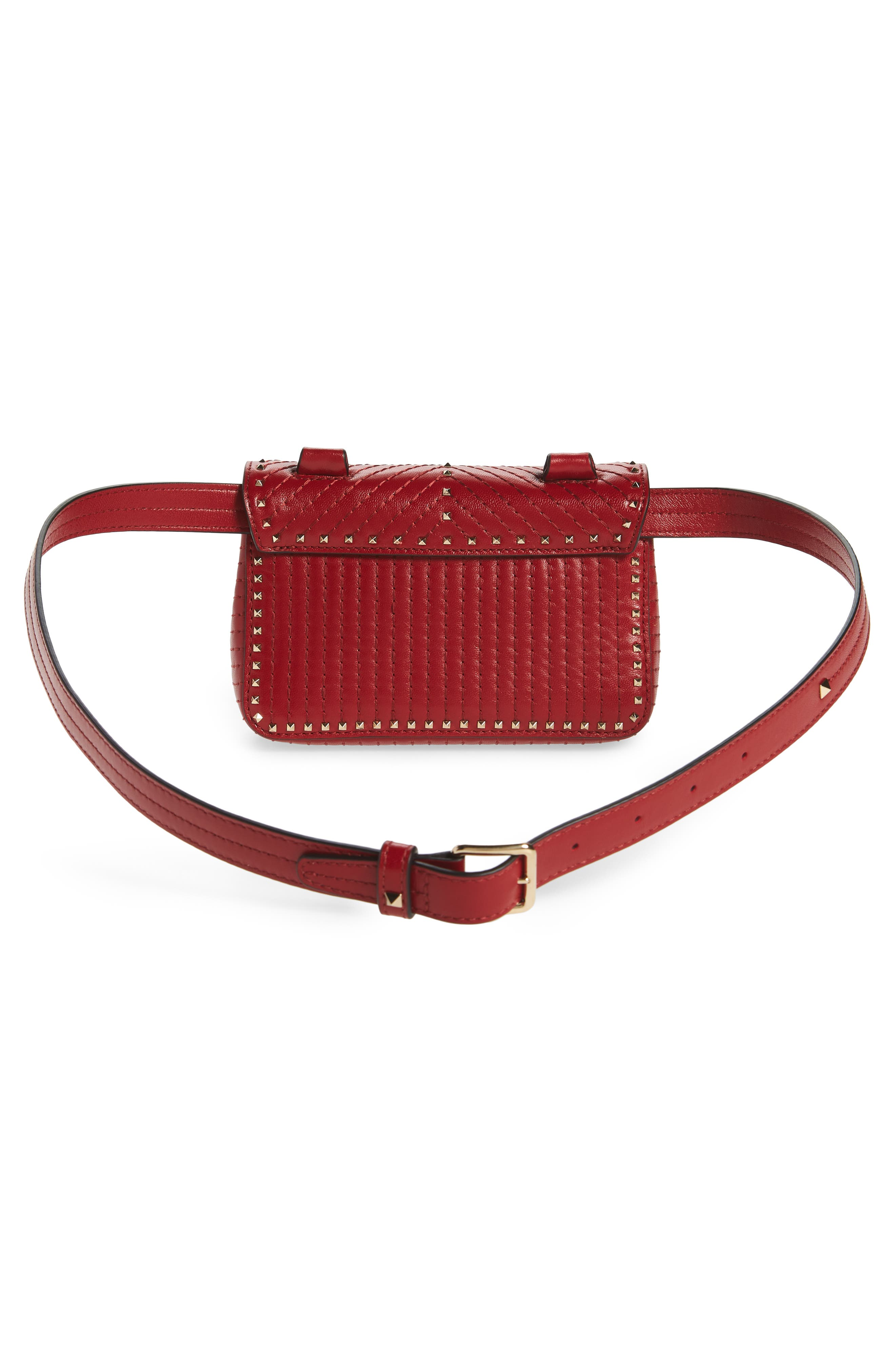 Mini Ziggystud Leather Convertible Crossbody/Belt Bag,                             Alternate thumbnail 5, color,                             Rosso