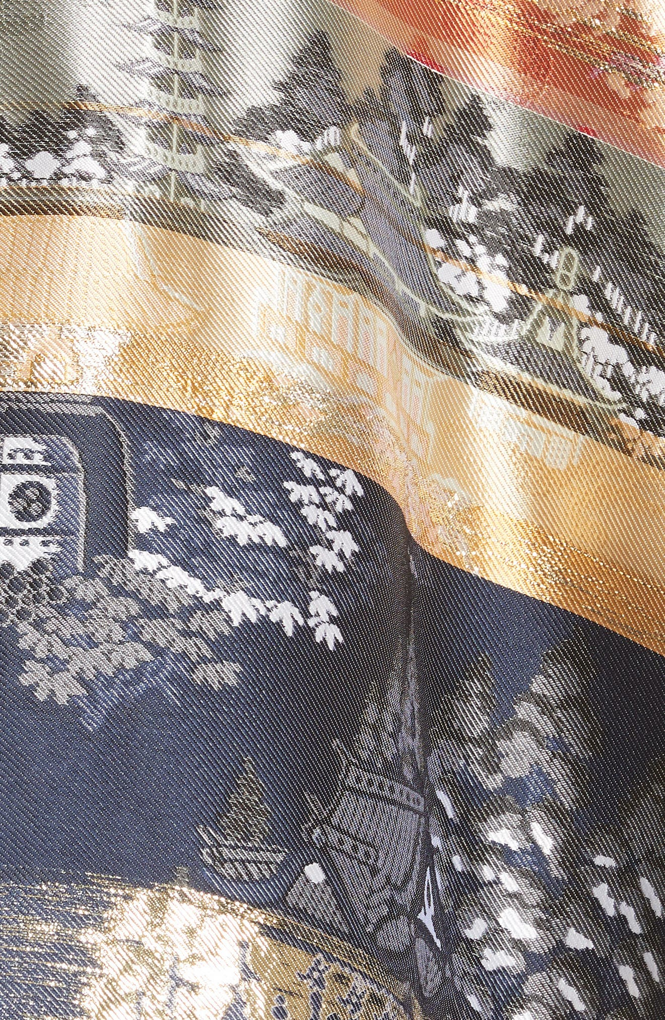 Reversible Silk Lamé Jacquard Coat,                             Alternate thumbnail 7, color,                             Navy/ Ivory