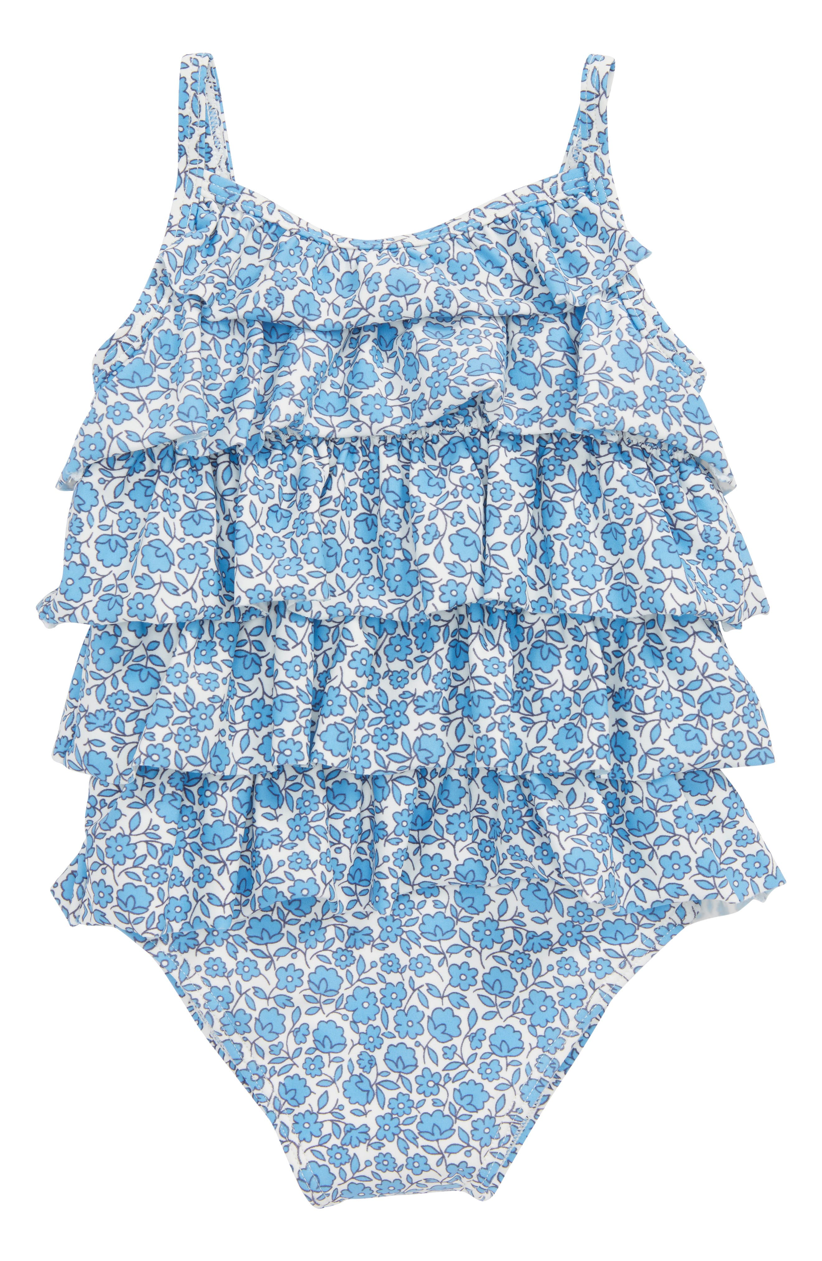 Summer Ruffle One-Piece Swimsuit,                         Main,                         color, Lake Blue/ Floral Toile