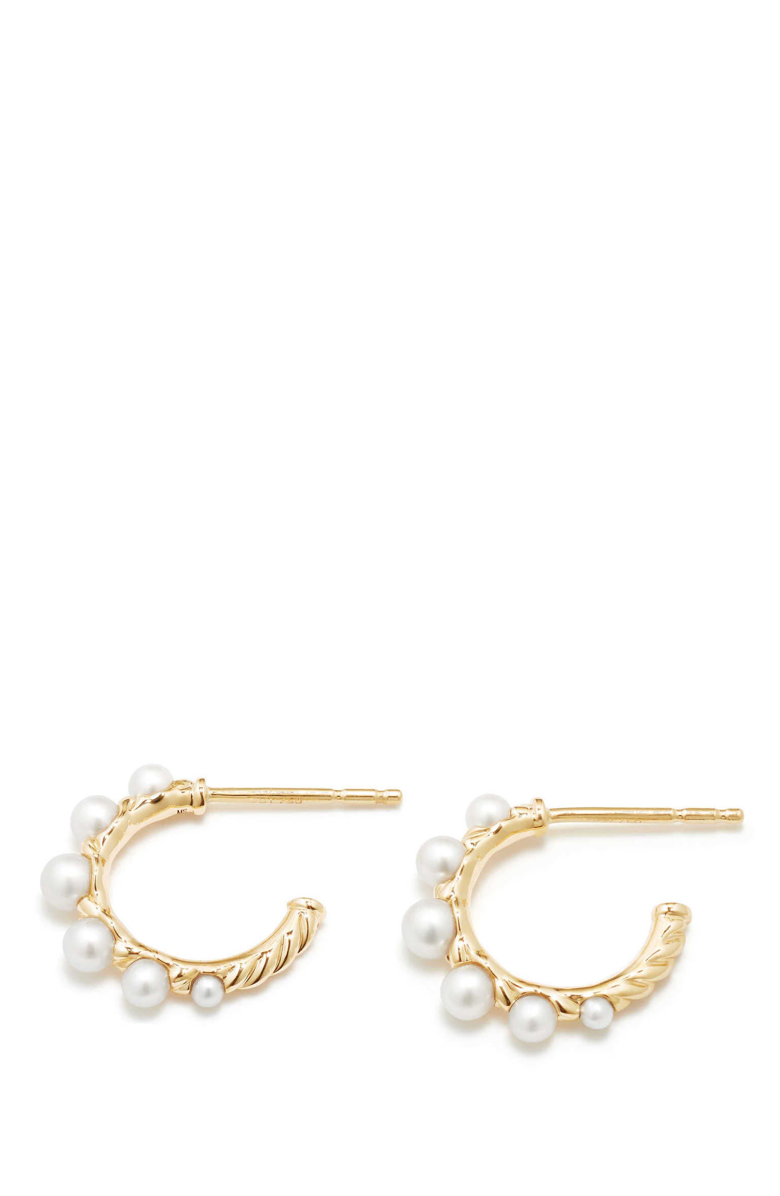 Alternate Image 1 Selected - David Yurman Petite Perle Graduated Pearl Hoop Earrings in 18K Gold