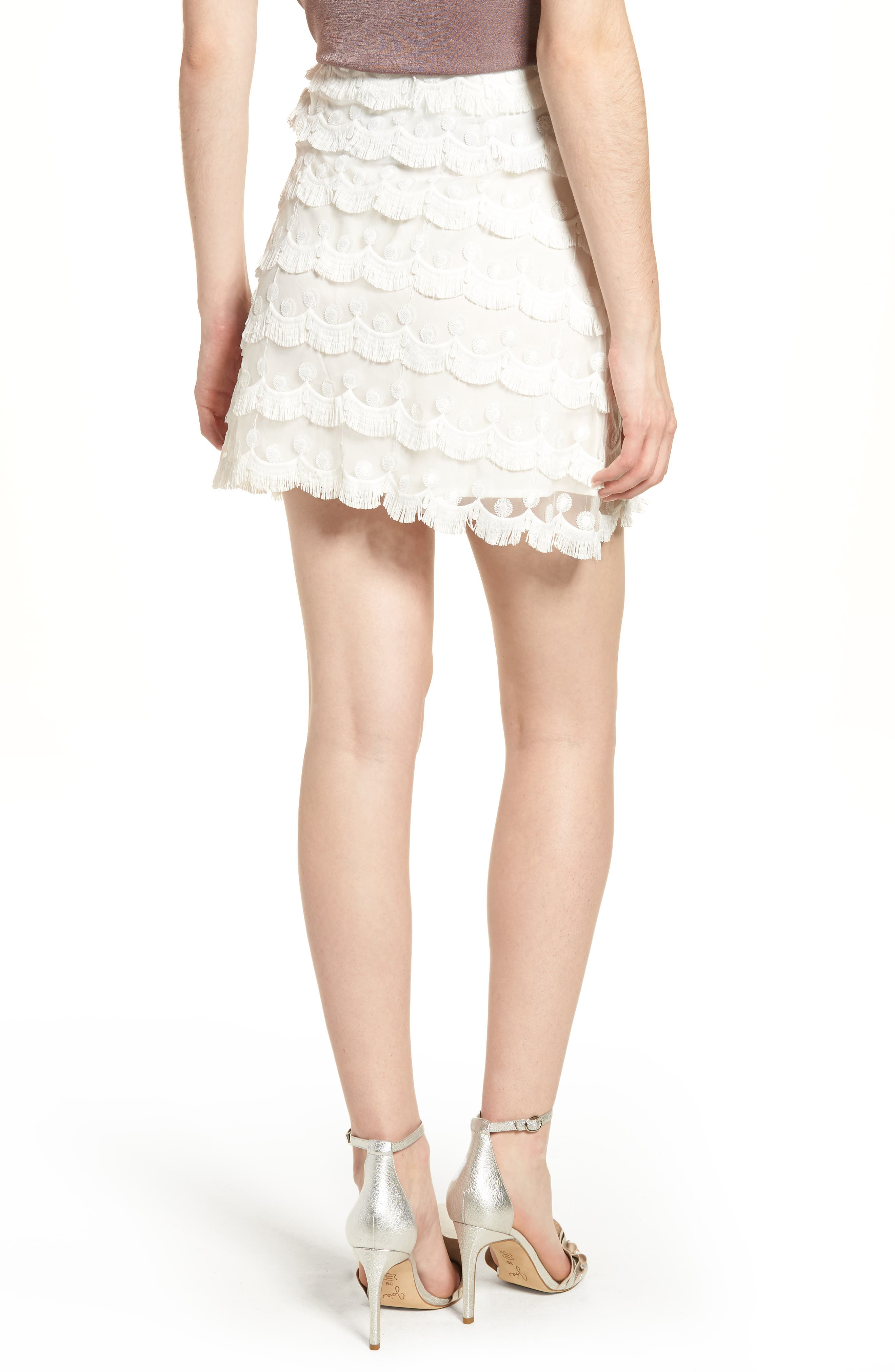 3D Lace Fringed Miniskirt,                             Alternate thumbnail 3, color,                             White