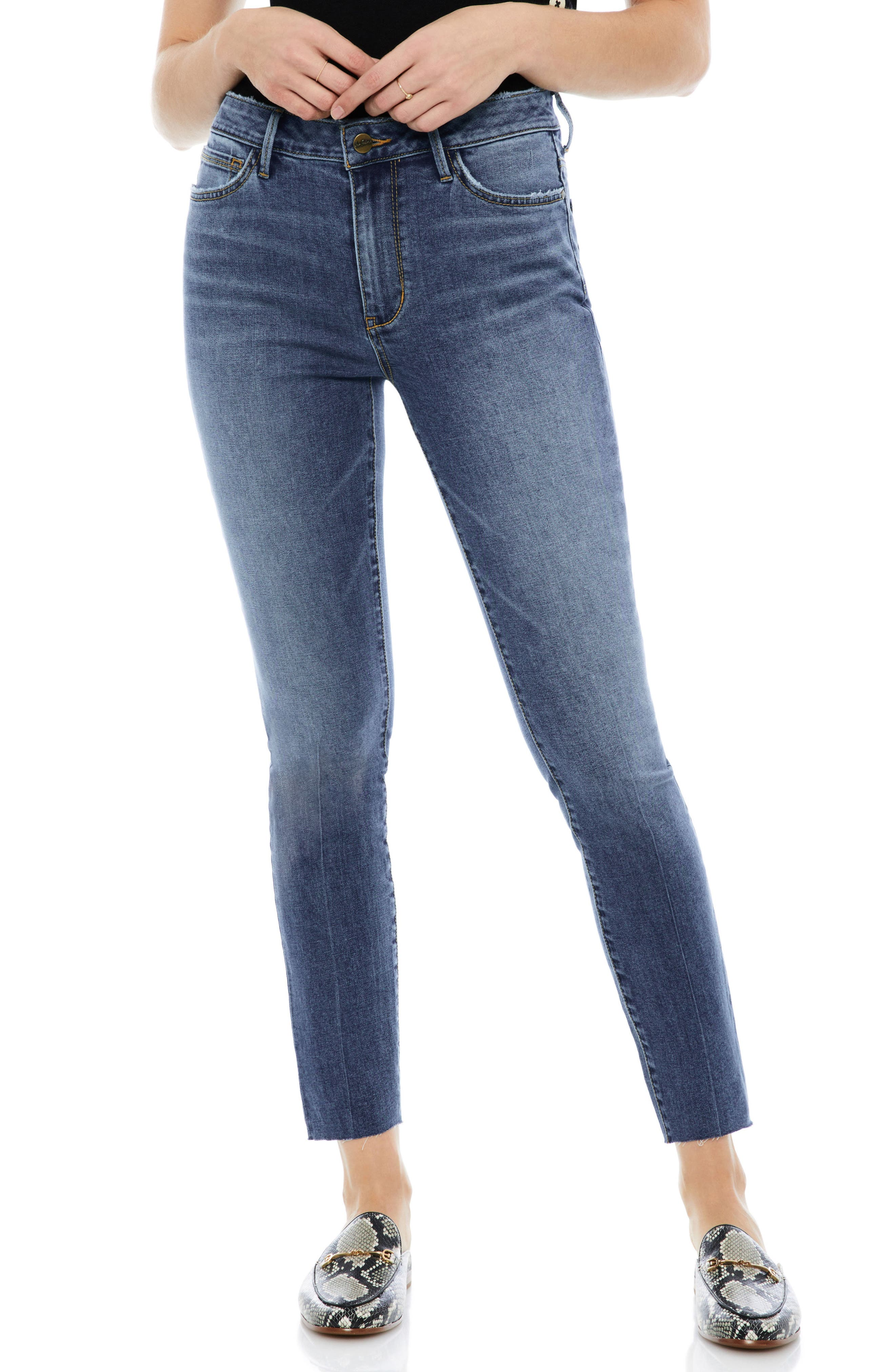 The Stiletto Raw Edge Skinny Jeans,                             Main thumbnail 1, color,                             Candice
