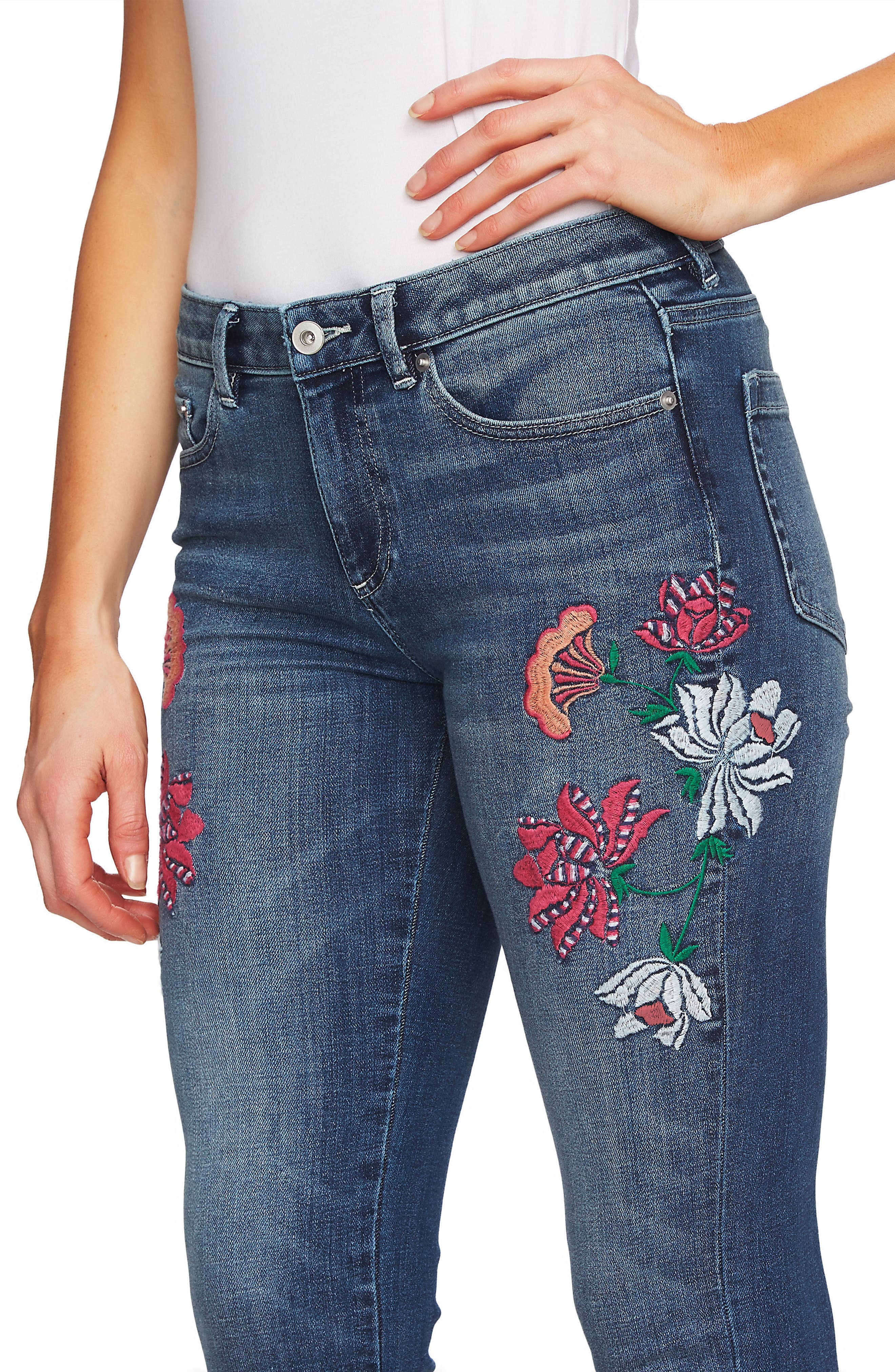 Floral Embroidery Skinny Jeans,                             Alternate thumbnail 4, color,                             True Blue