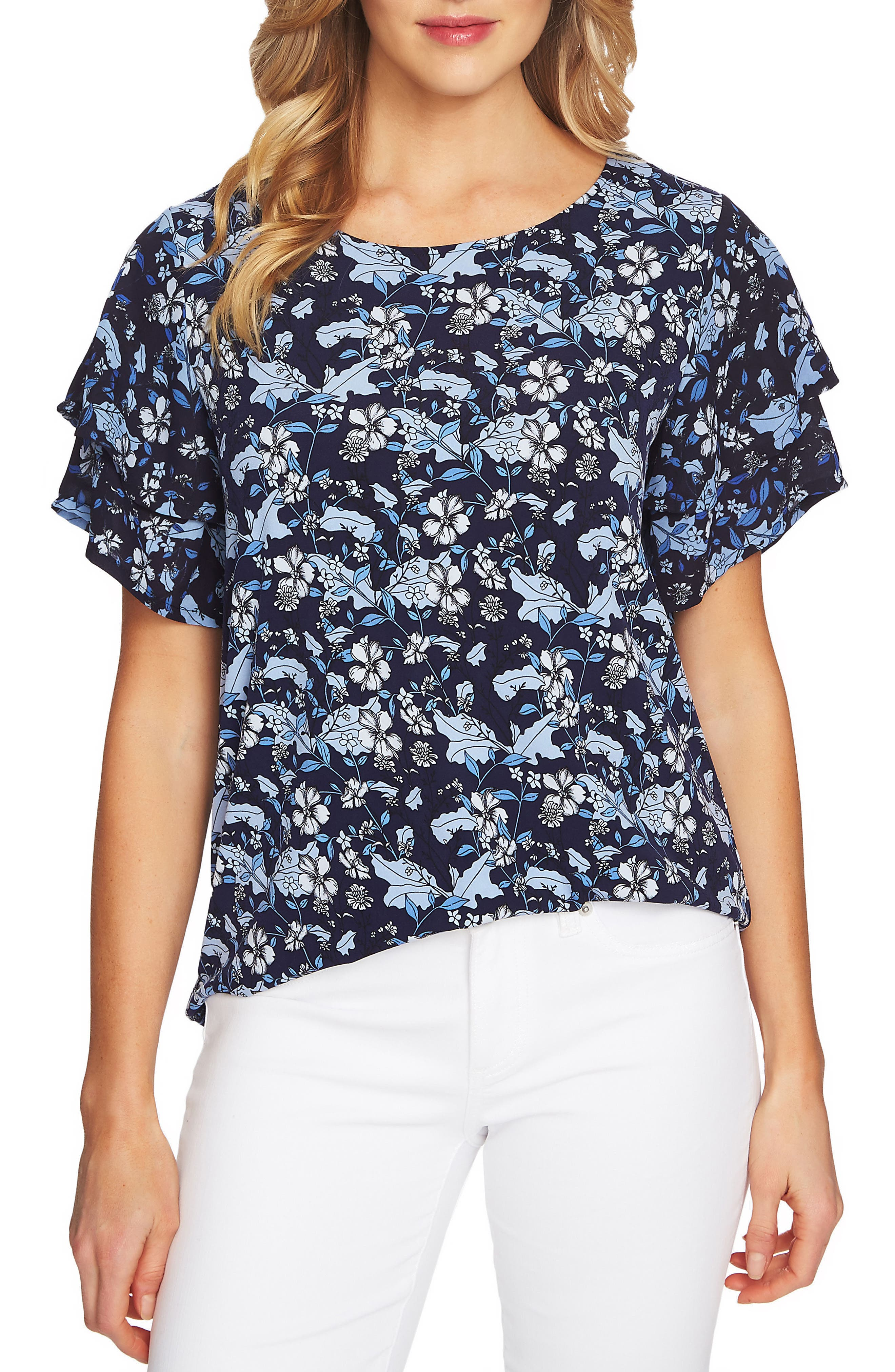 Tiered Sleeve Floral Top,                         Main,                         color, Blue Bird