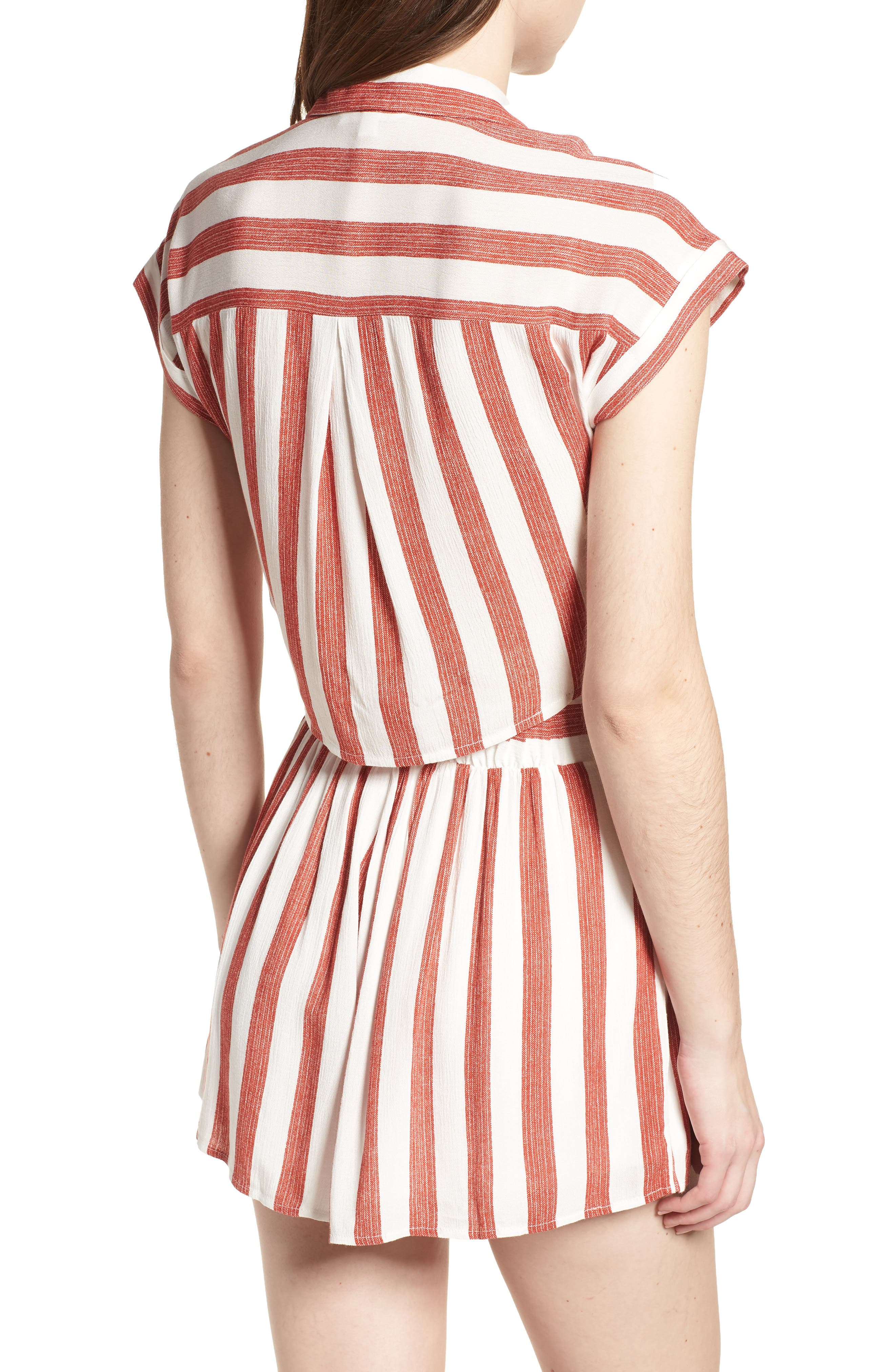 Stripe Tie Front Top,                             Alternate thumbnail 3, color,                             Red/ Ivory