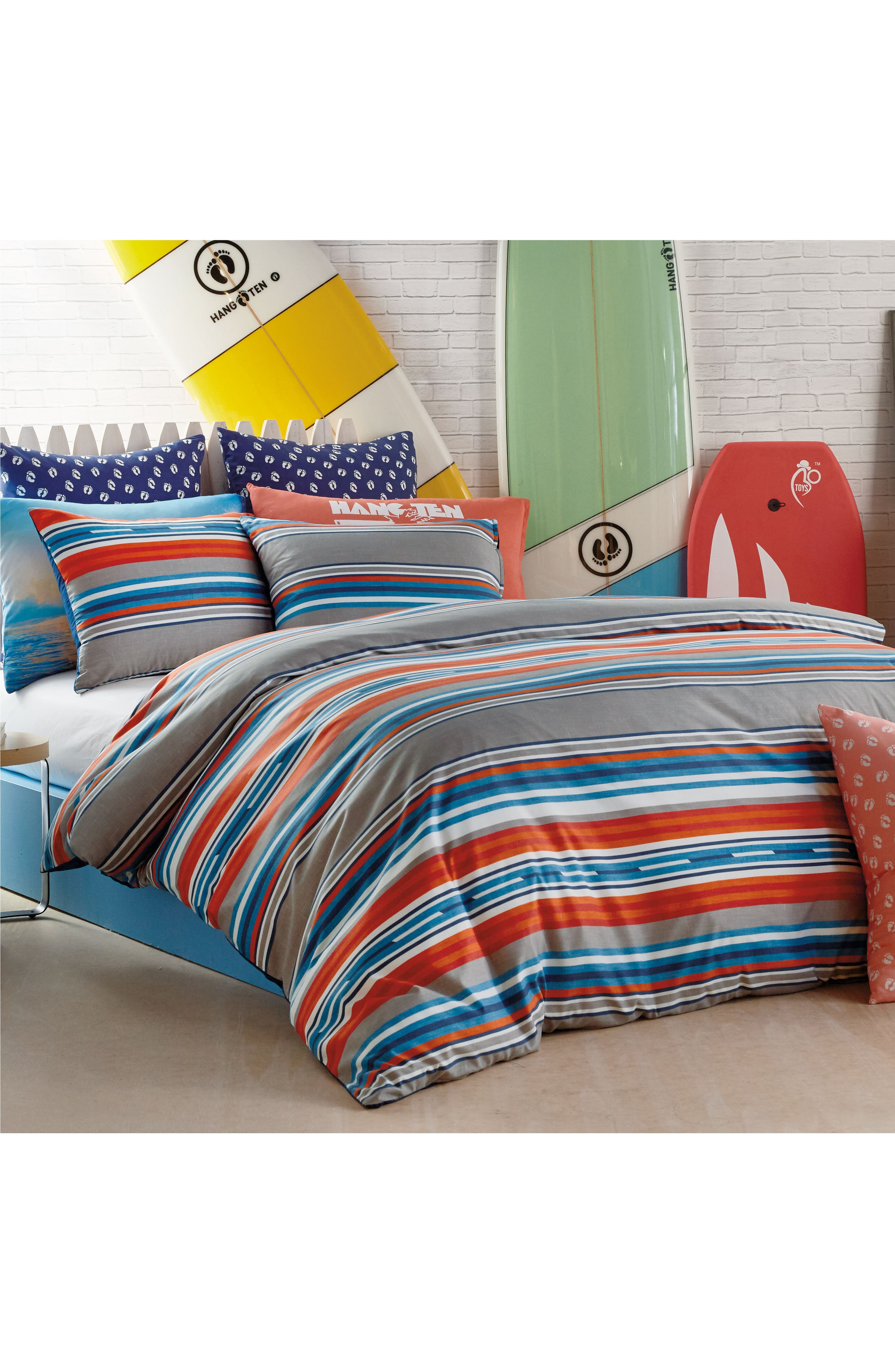 Surfboard Stripe Comforter & Sham Set,                             Alternate thumbnail 5, color,