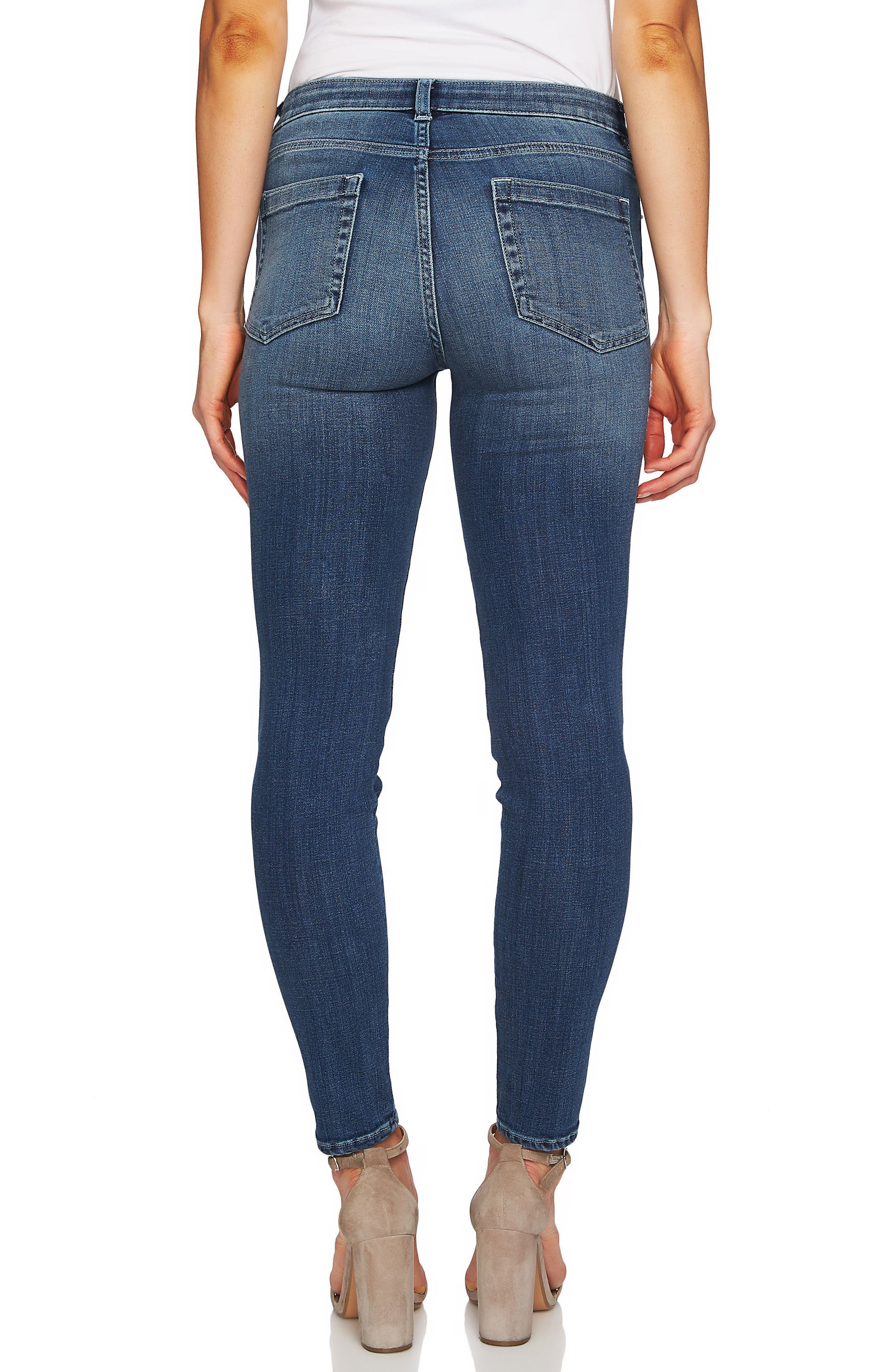 Floral Embroidery Skinny Jeans,                             Alternate thumbnail 2, color,                             True Blue