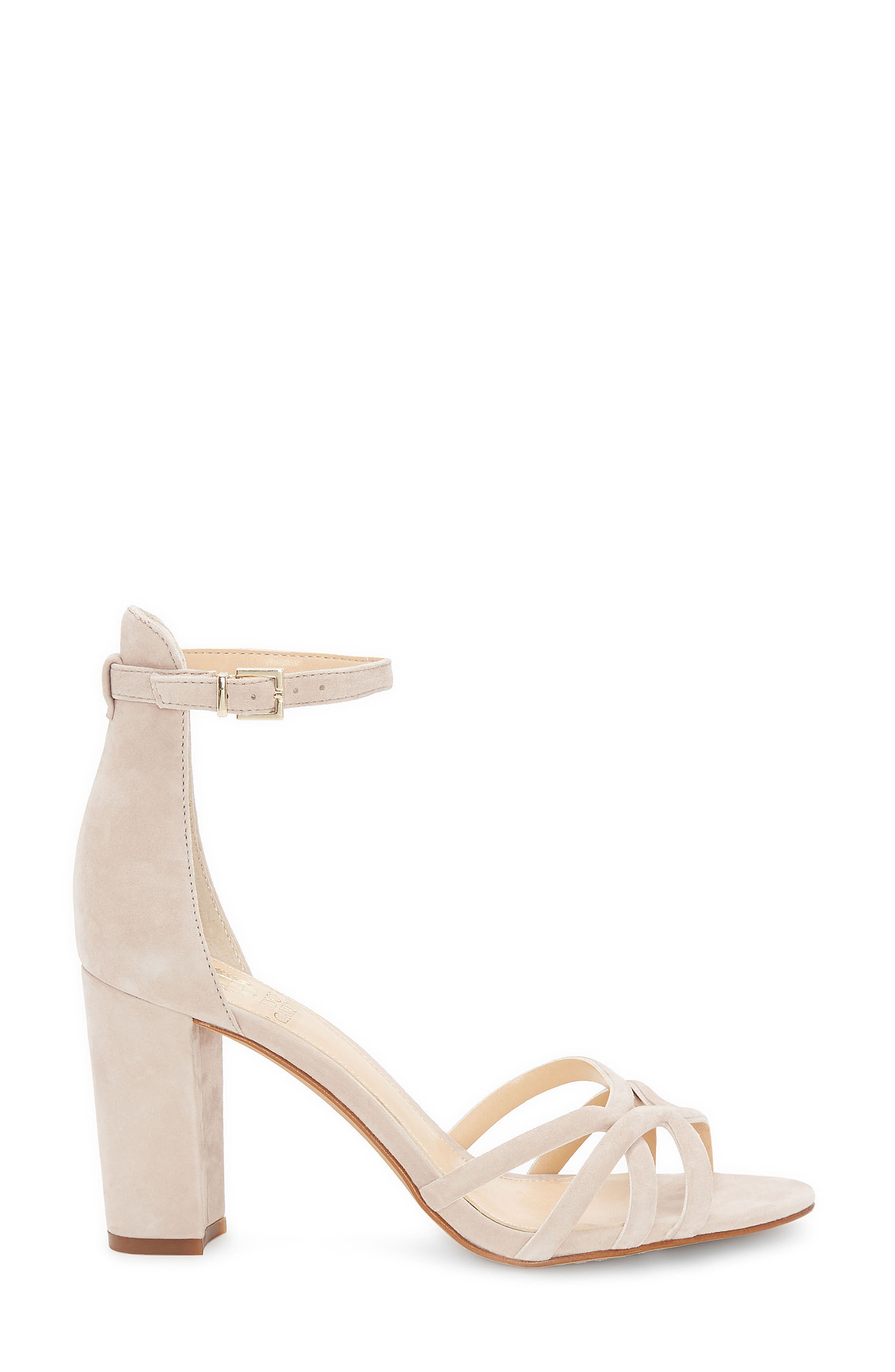 Catelia Ankle Strap Sandal,                             Alternate thumbnail 3, color,                             Taupe Suede