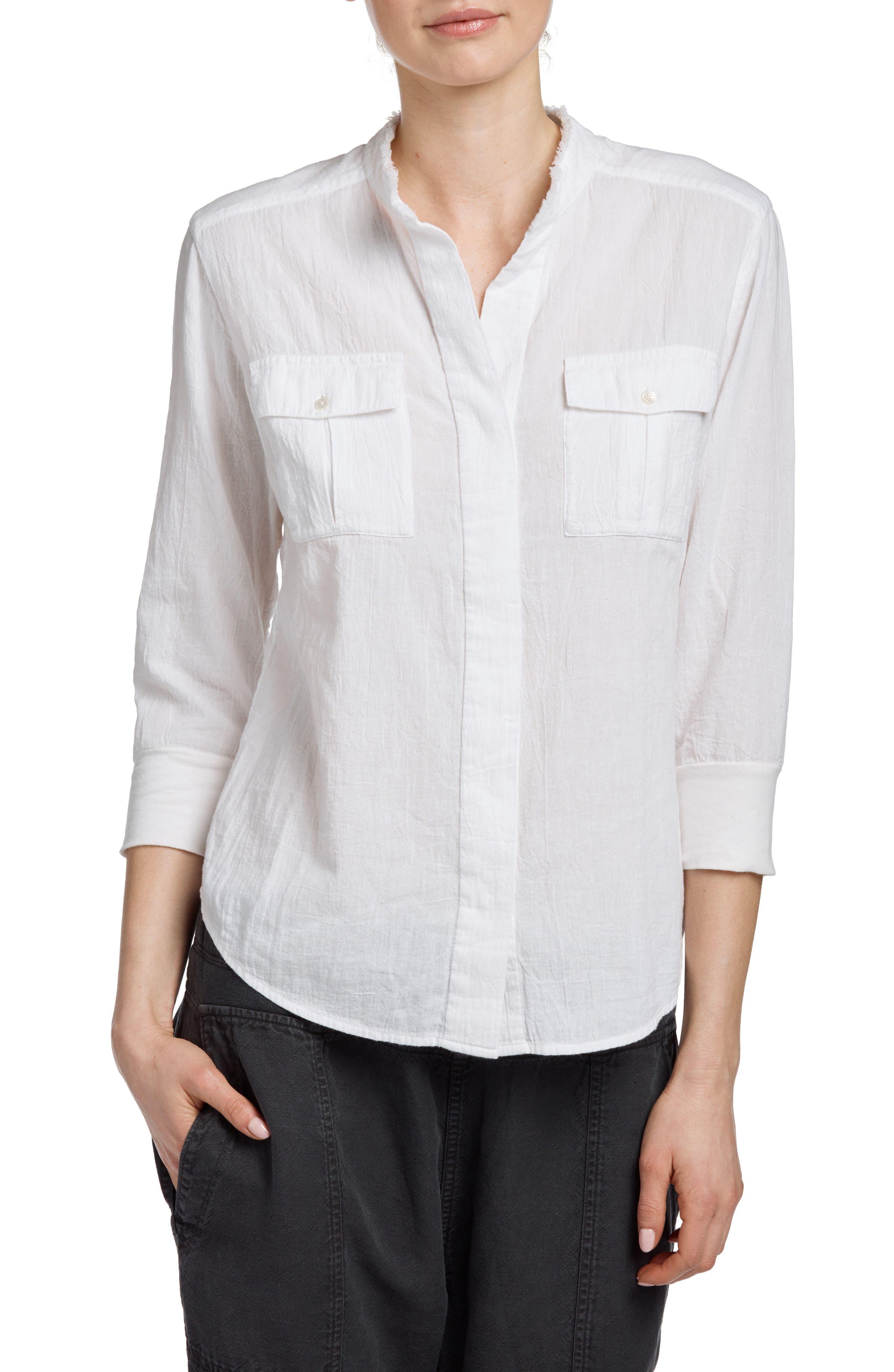 Frayed Collar Long Sleeve Shirt,                         Main,                         color, White
