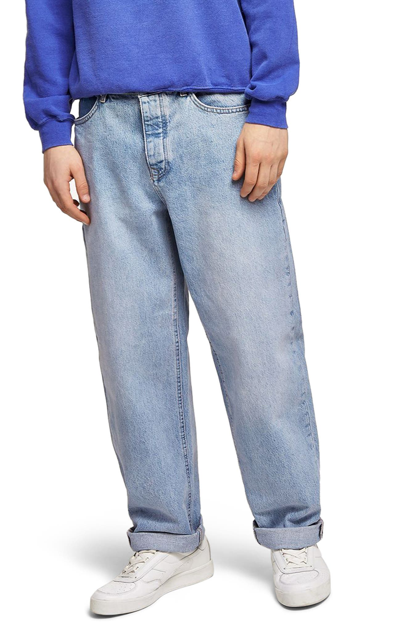Baggy Fit Jeans,                         Main,                         color, Blue
