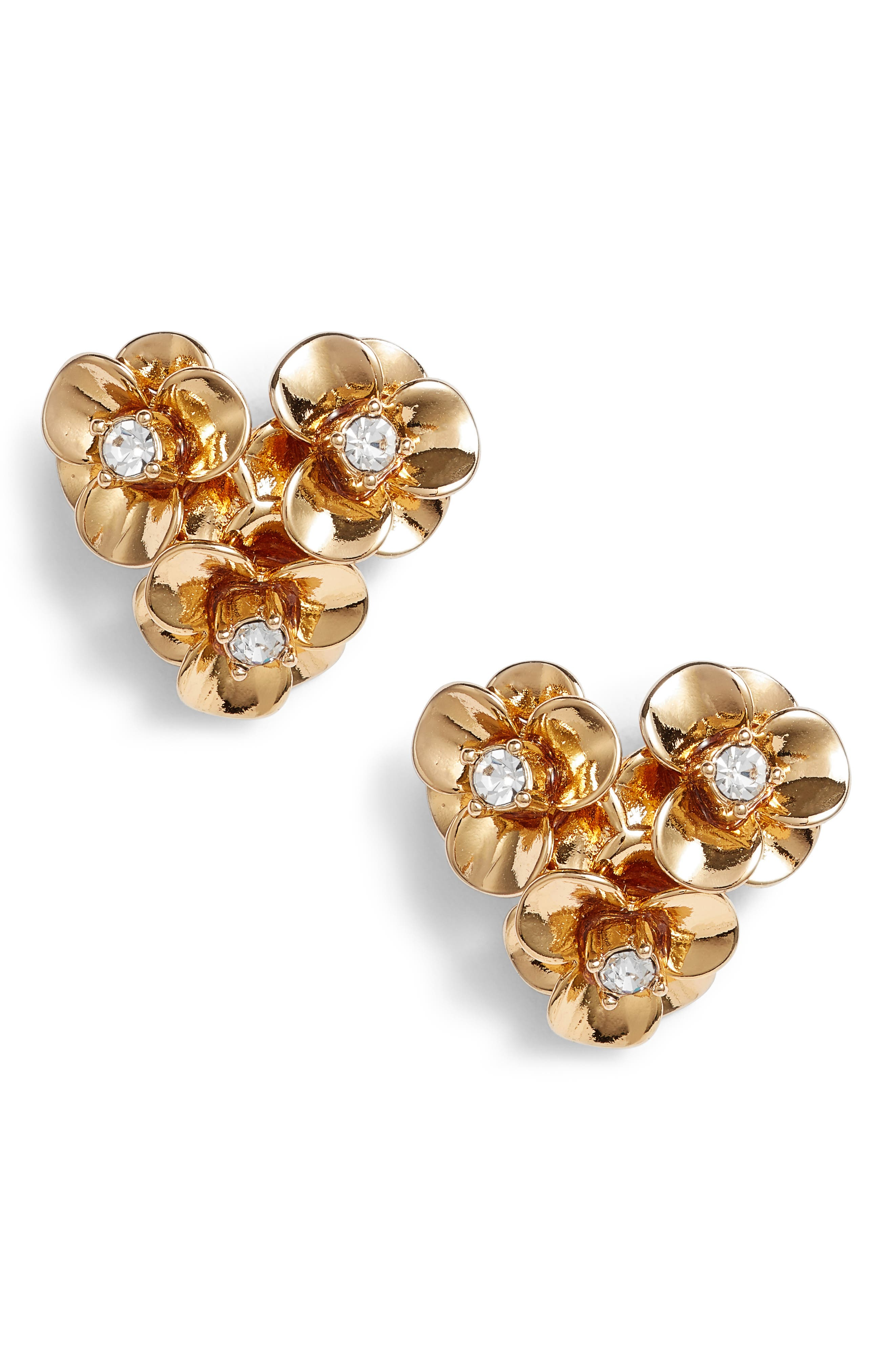shine on flower cluster stud earrings,                         Main,                         color, Gold