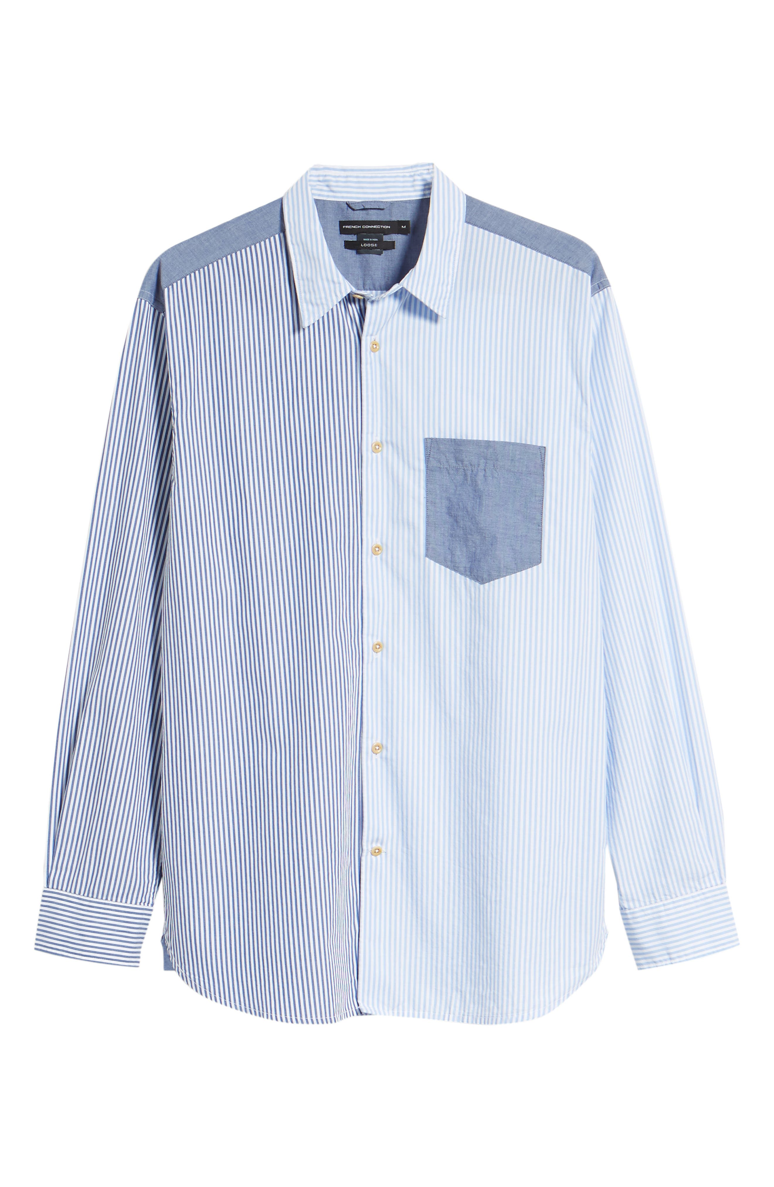 Patchwork Relaxed Fit Sport Shirt,                             Alternate thumbnail 6, color,                             Blue Blood