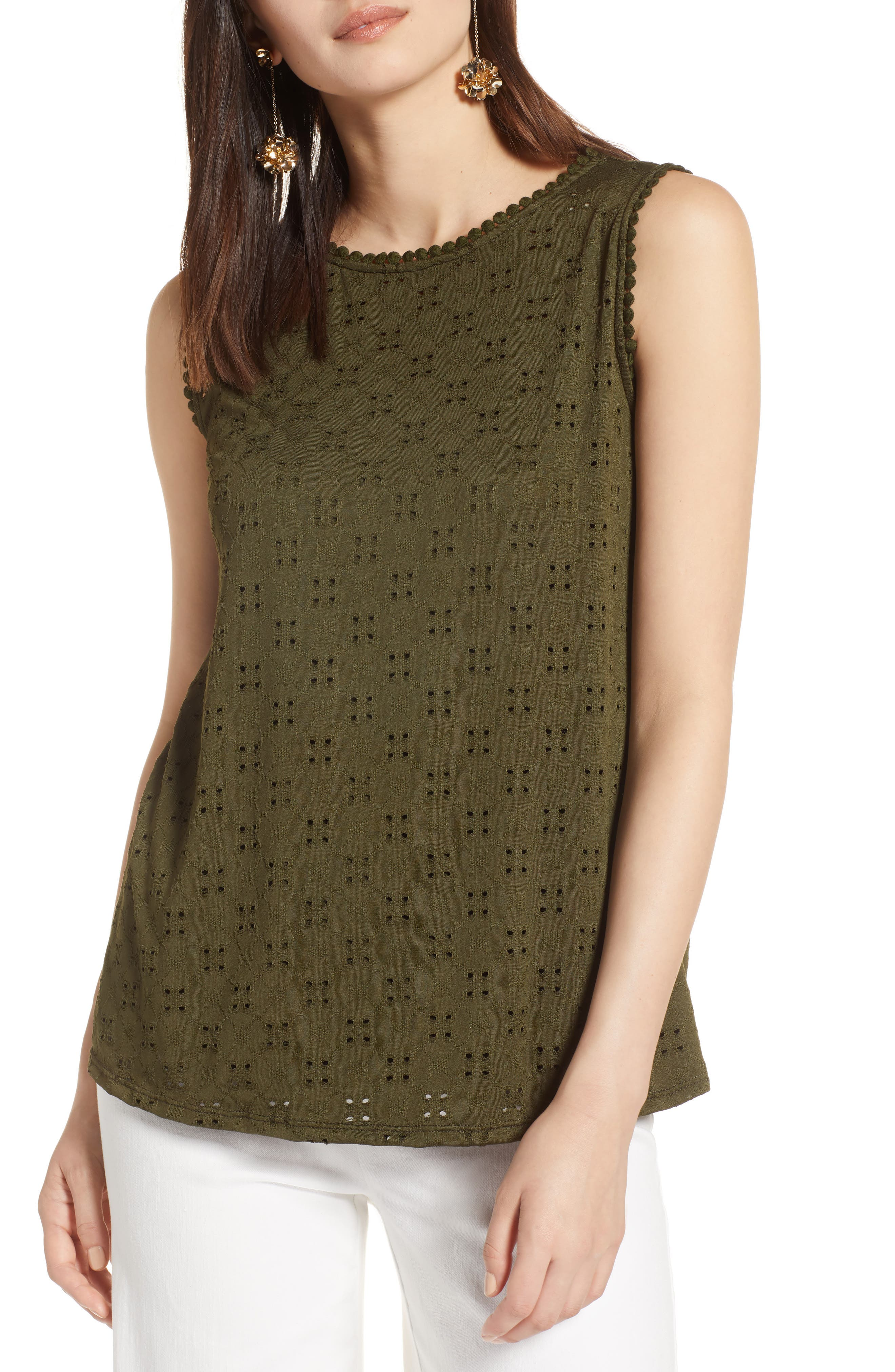 Halogen® Eyelet Knit Tank (Regular & Petite)