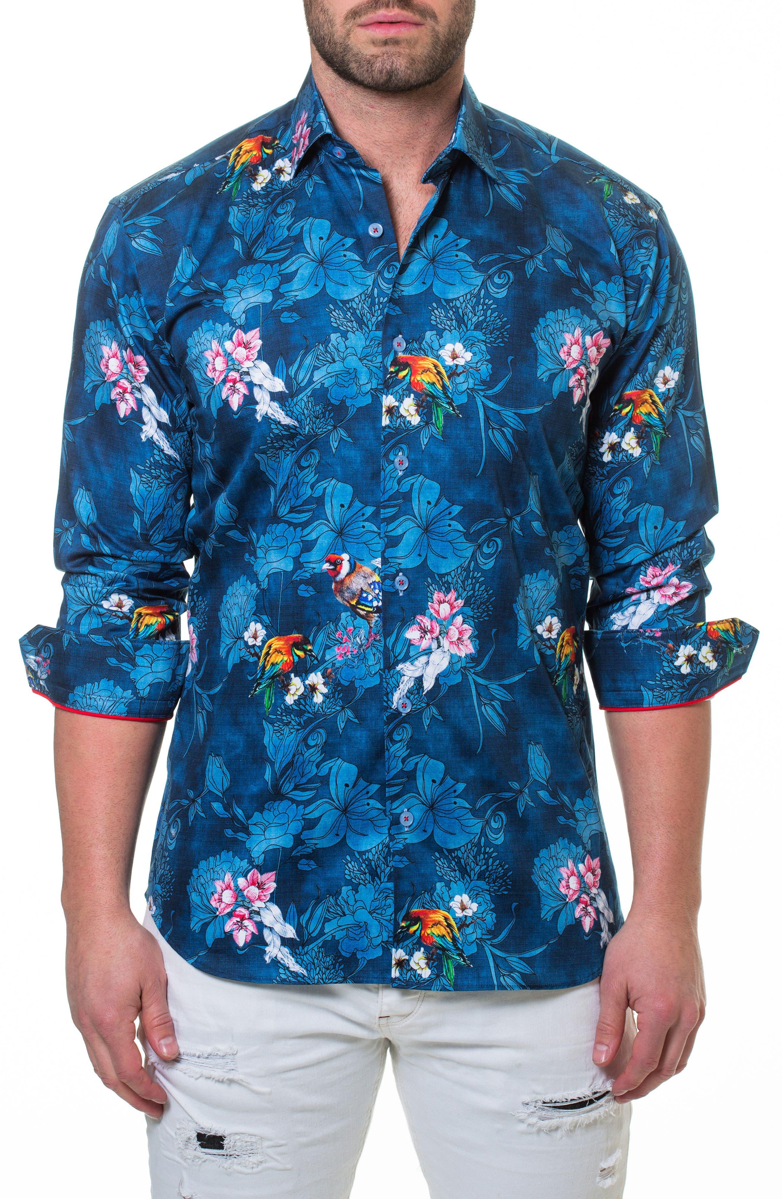 Wall Street Blossom Blue Sport Shirt,                         Main,                         color, Blue
