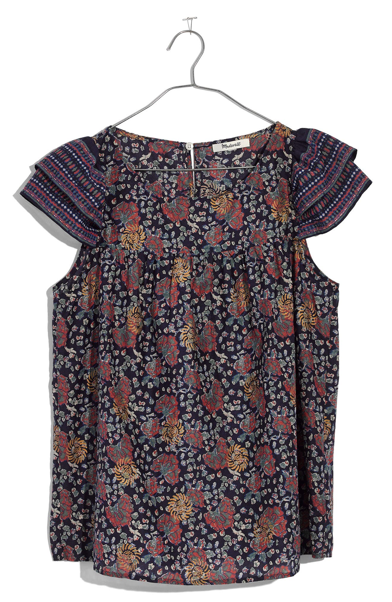Fan Floral Mix Story Top,                             Alternate thumbnail 3, color,                             Block Nectar Gold