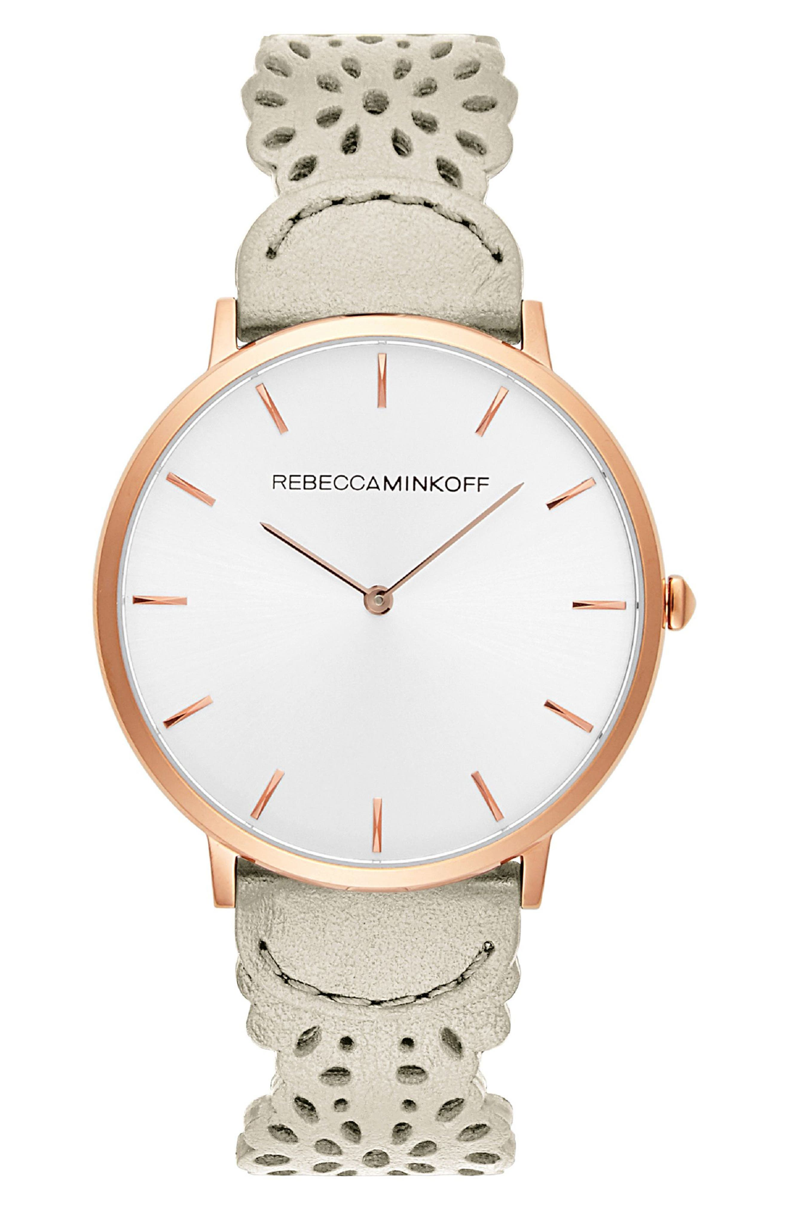 Major Etched Leather Strap Watch, 40mm,                         Main,                         color, White/ Silver/ Rose Gold