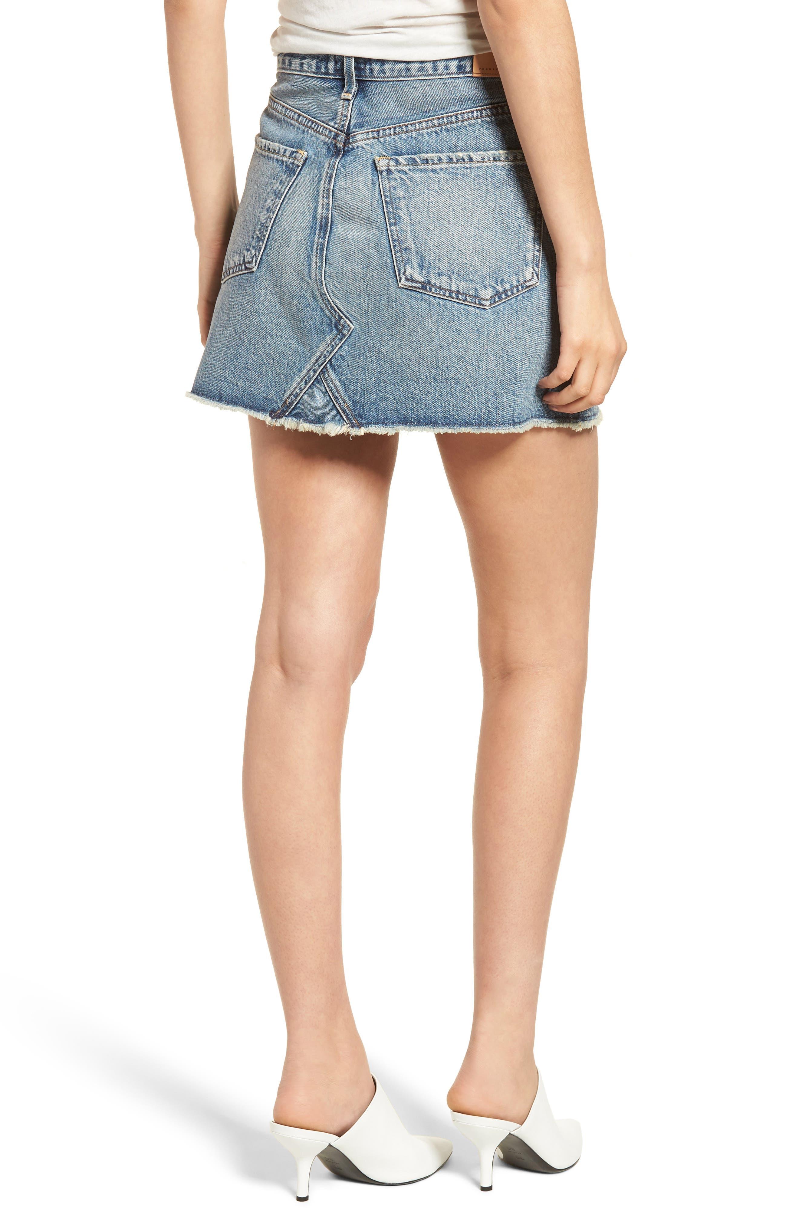Cutoff Denim Miniskirt,                             Alternate thumbnail 2, color,                             Freebird