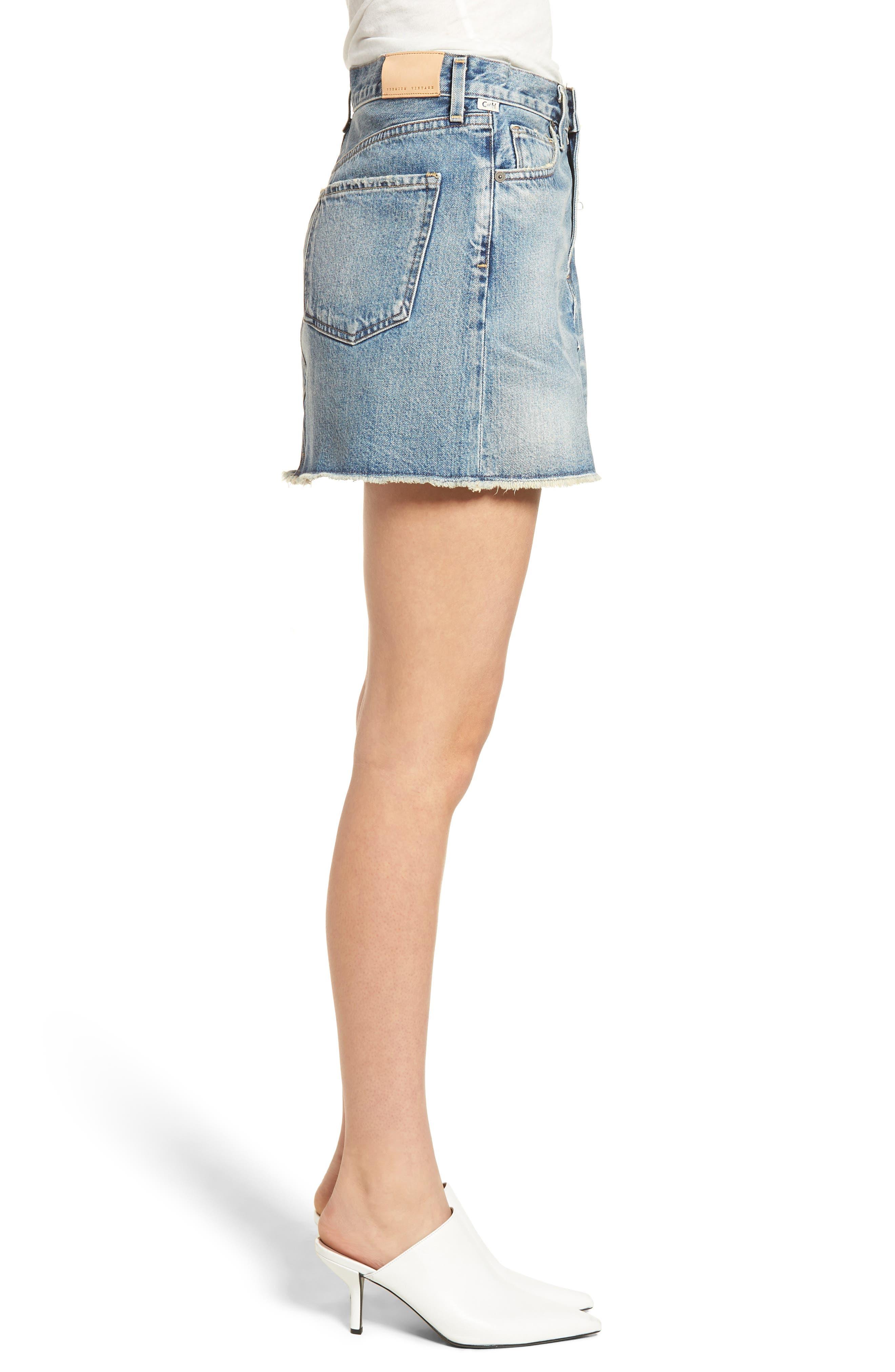 Cutoff Denim Miniskirt,                             Alternate thumbnail 3, color,                             Freebird