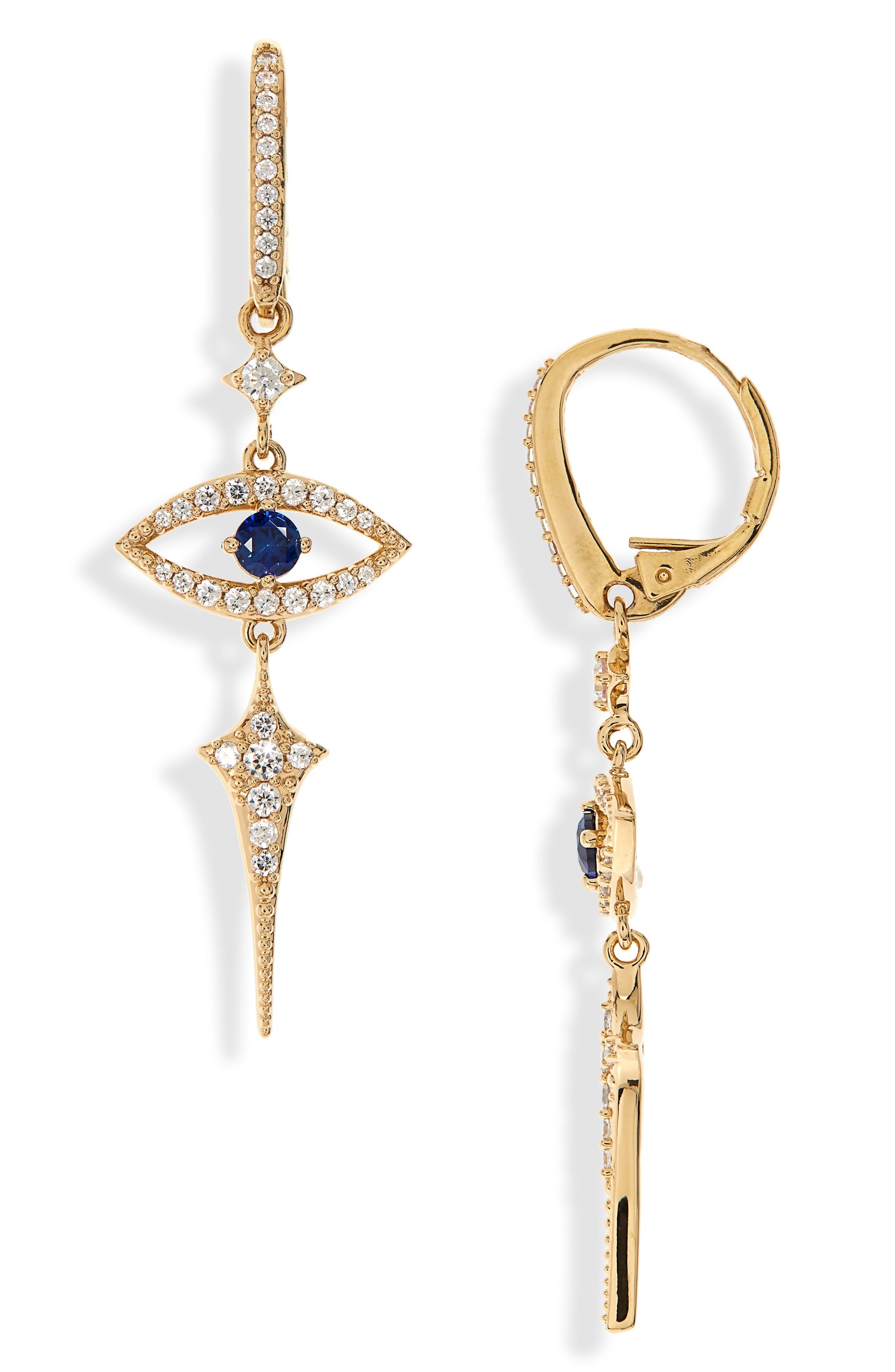 Nazar Evil Eye Earrings,                         Main,                         color, Gold