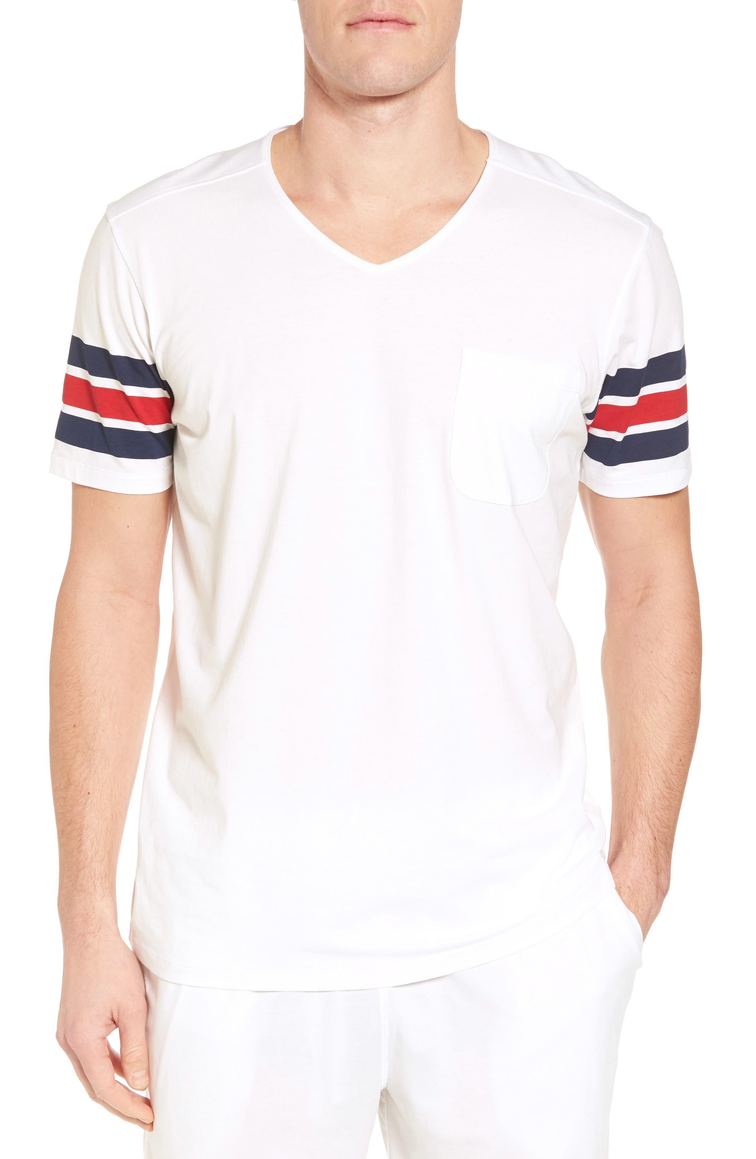 V-Neck Stretch Cotton Blend T-Shirt,                             Main thumbnail 1, color,                             Red/ Navy