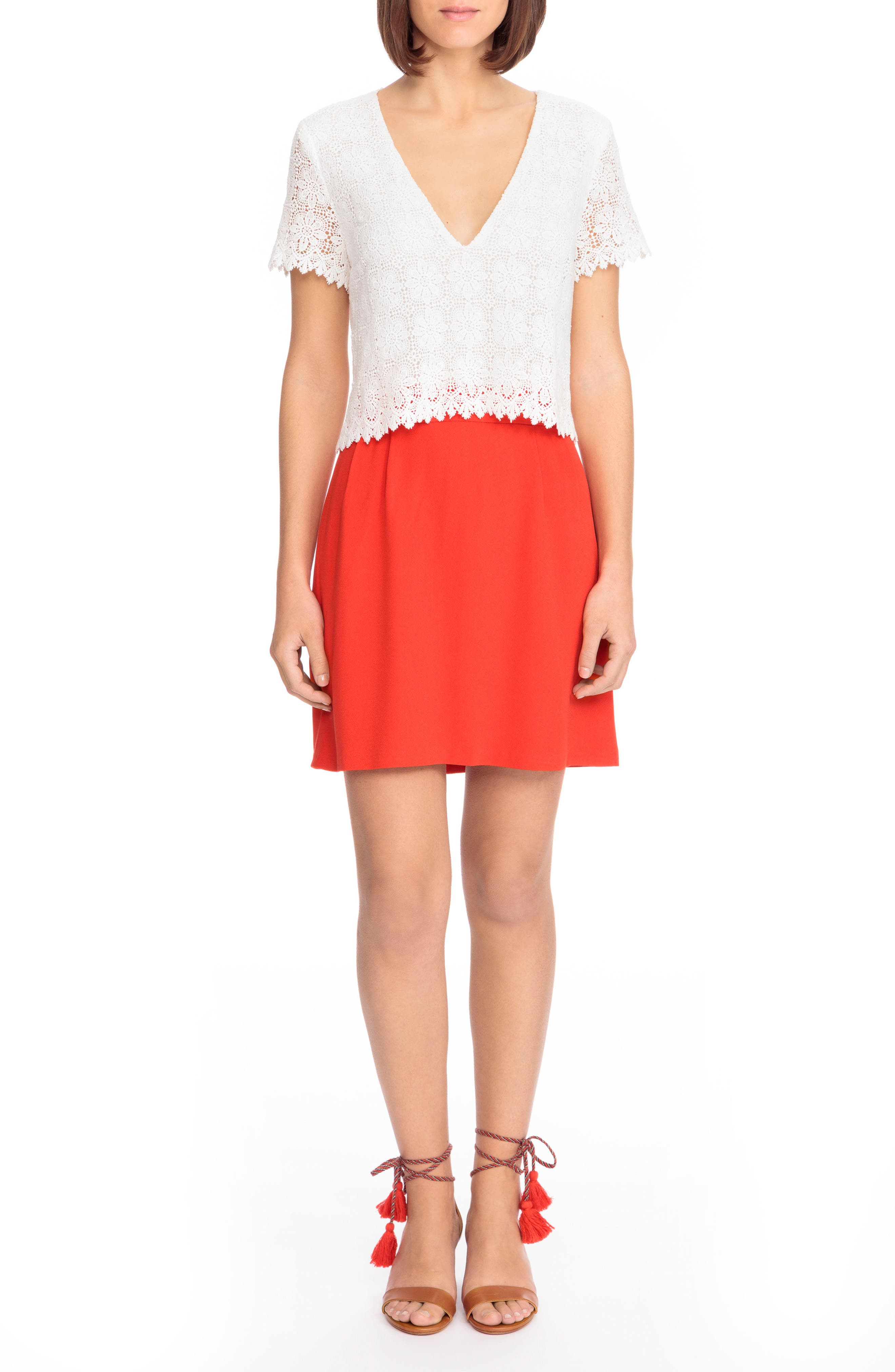 Gloria Two-in-One Dress,                         Main,                         color, Coral Red