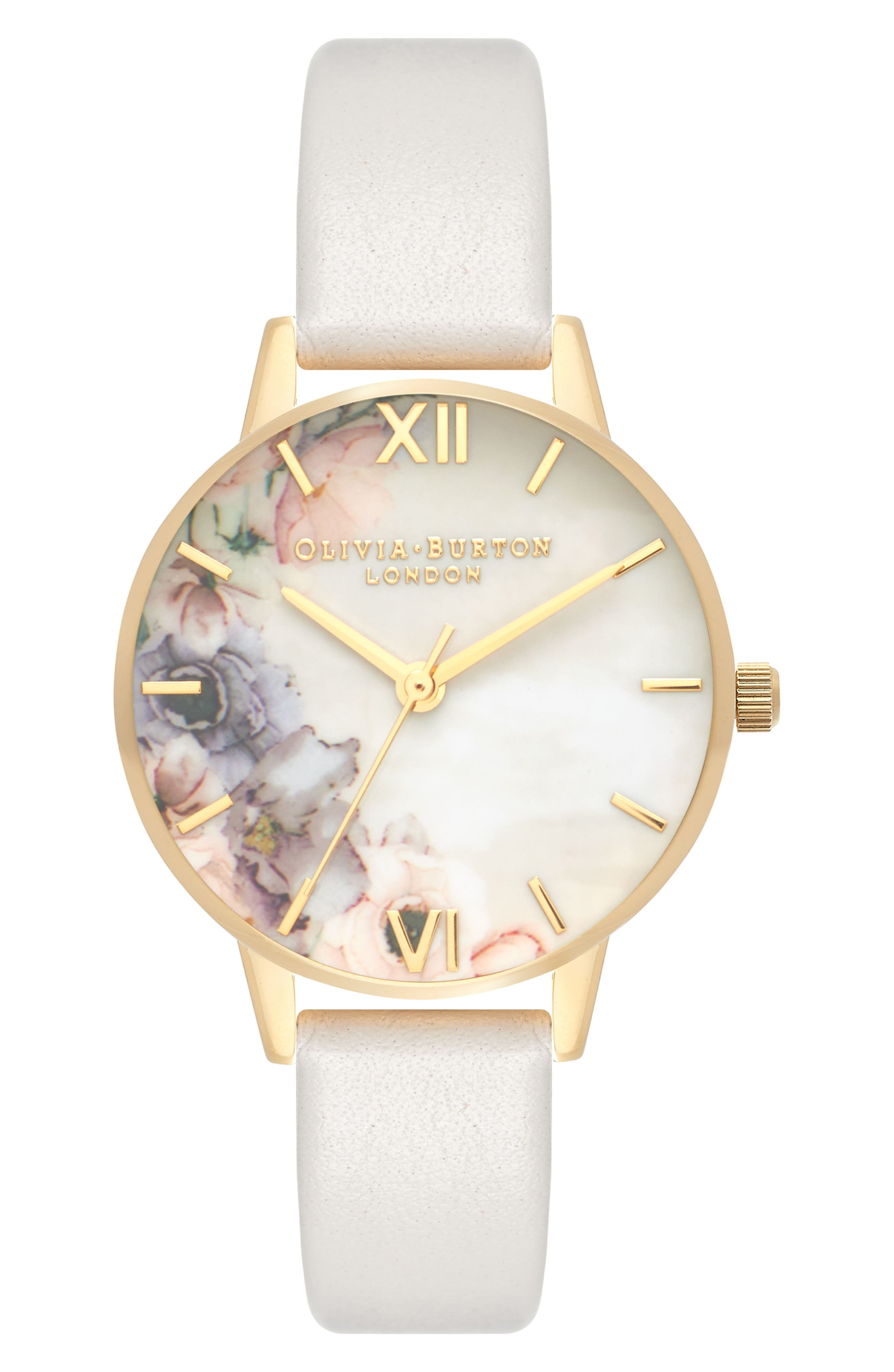 Watercolor Floral Leather Strap Watch, 30mm,                             Main thumbnail 1, color,                             Blush/ White Floral/ Gold