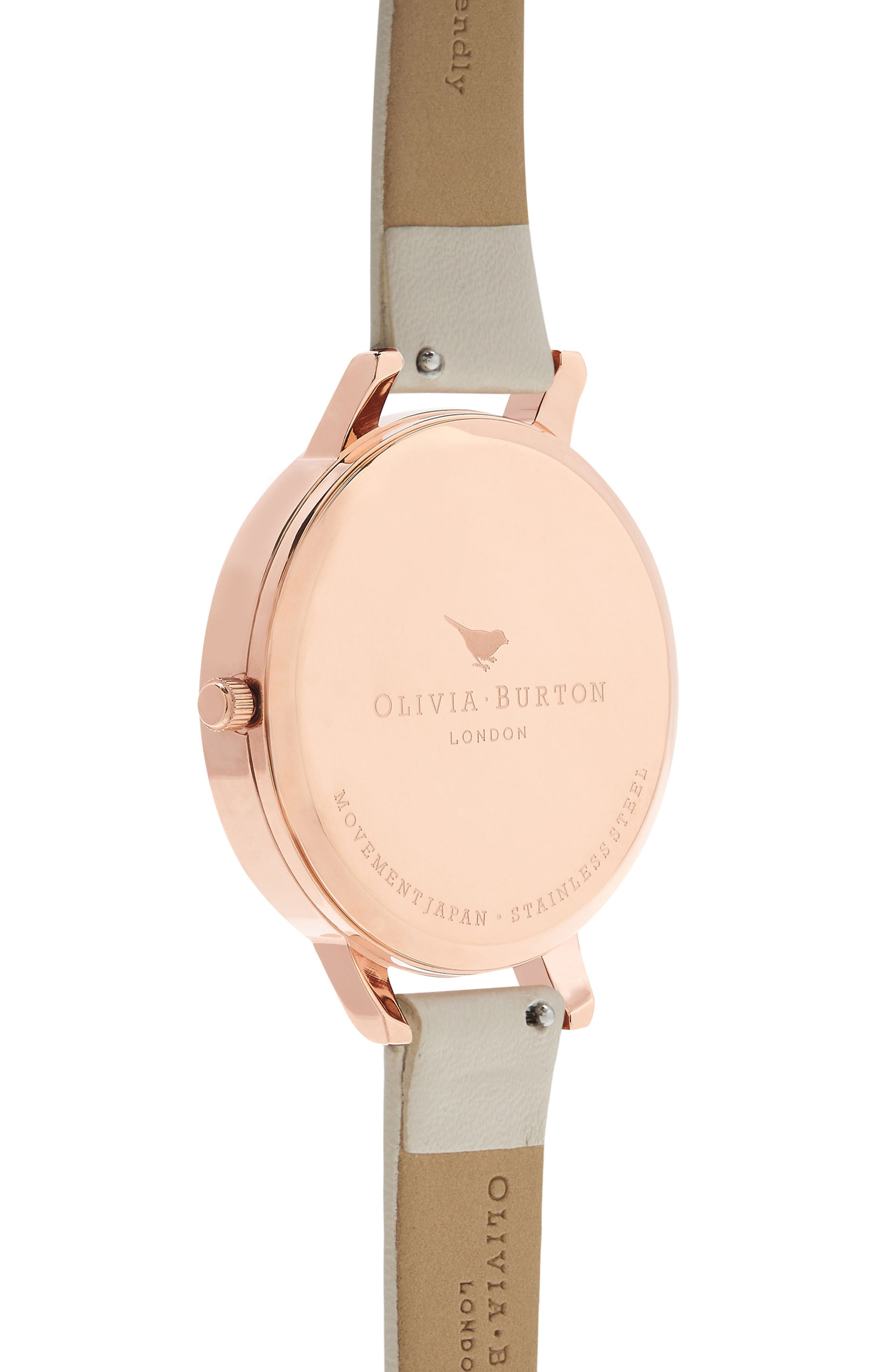 Abstract Floral Faux Leather Strap Watch, 38mm,                             Alternate thumbnail 2, color,                             Nude/ Floral/ Rose Gold