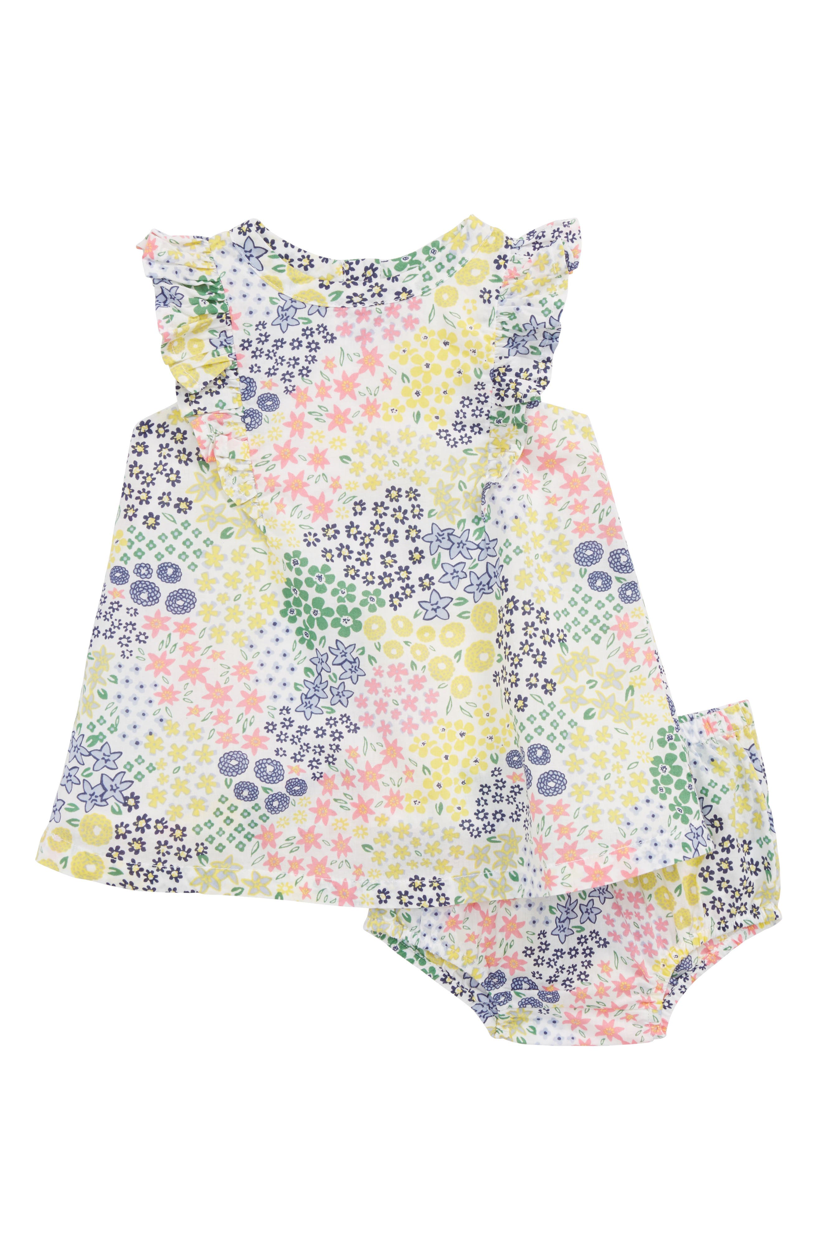 Ruffle Floral Dress,                         Main,                         color, White Multi Meadow