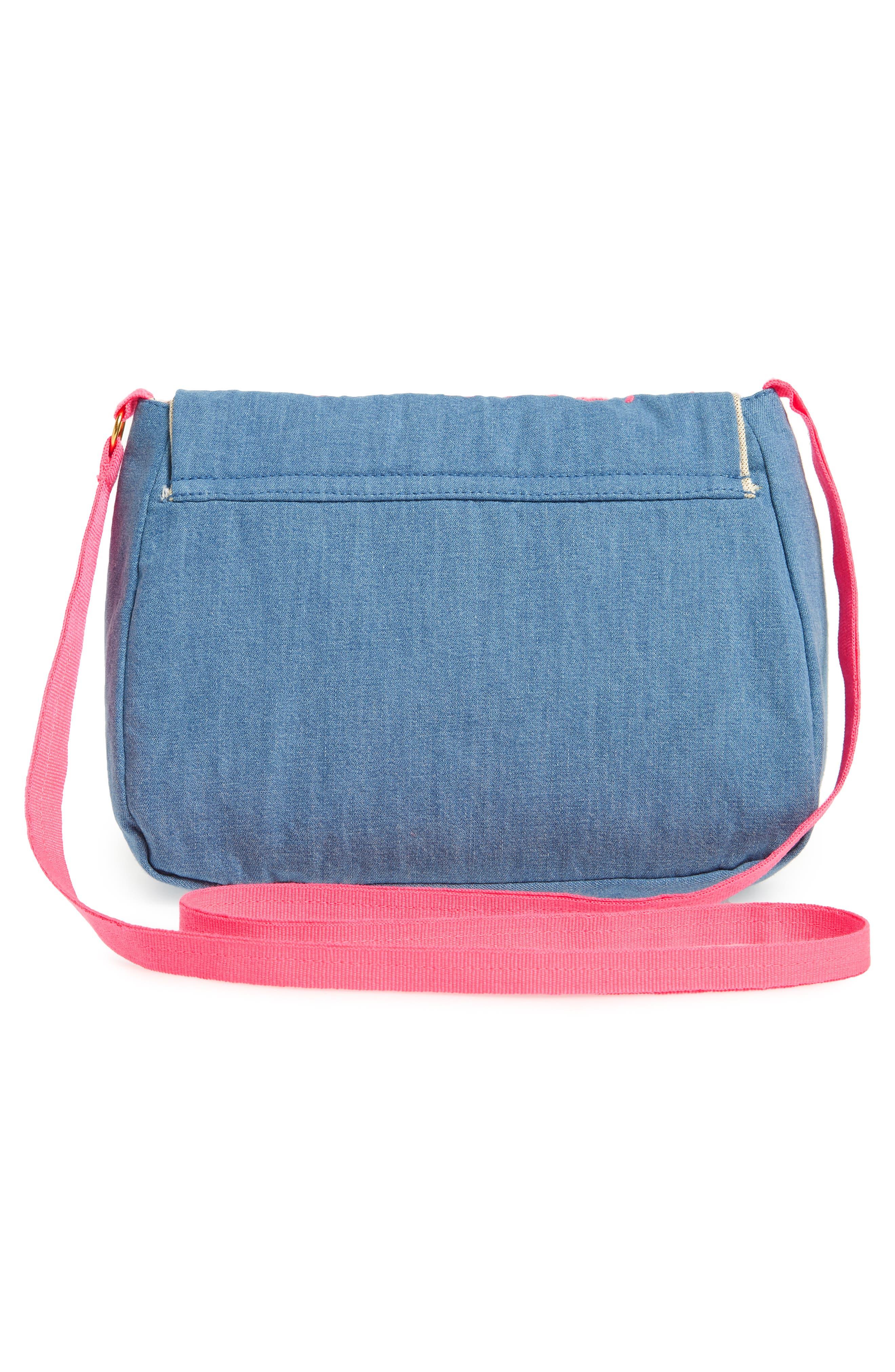 Embroidered Denim Shoulder Bag,                             Alternate thumbnail 3, color,                             Chambray Blue