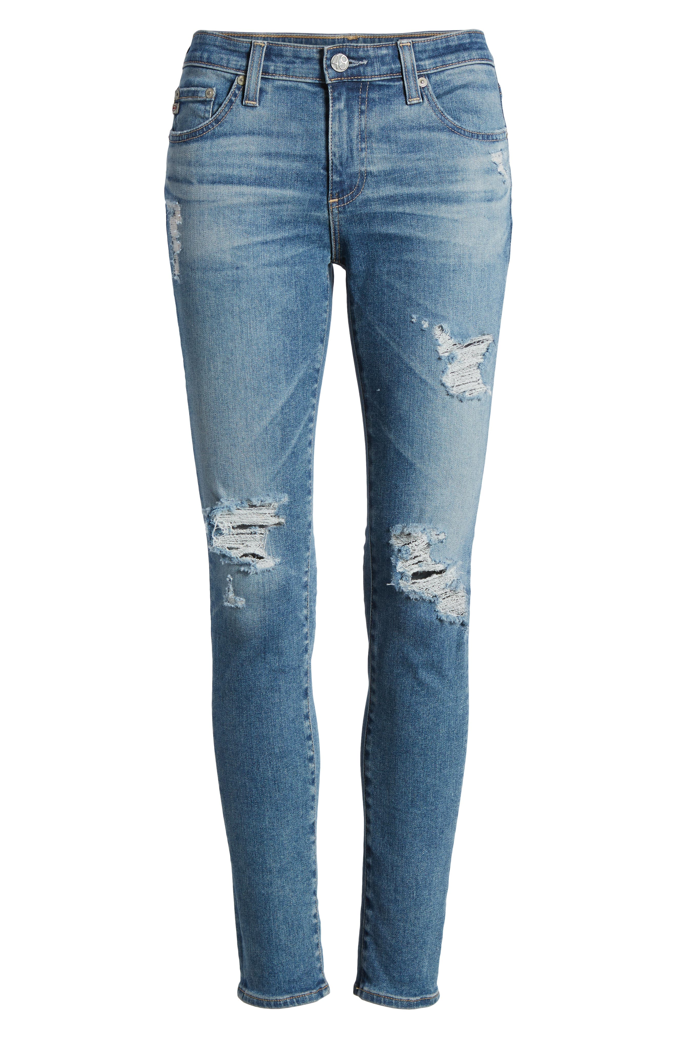 The Legging Ankle Super Skinny Jeans,                             Alternate thumbnail 7, color,                             13 Years Pacifica Destructed