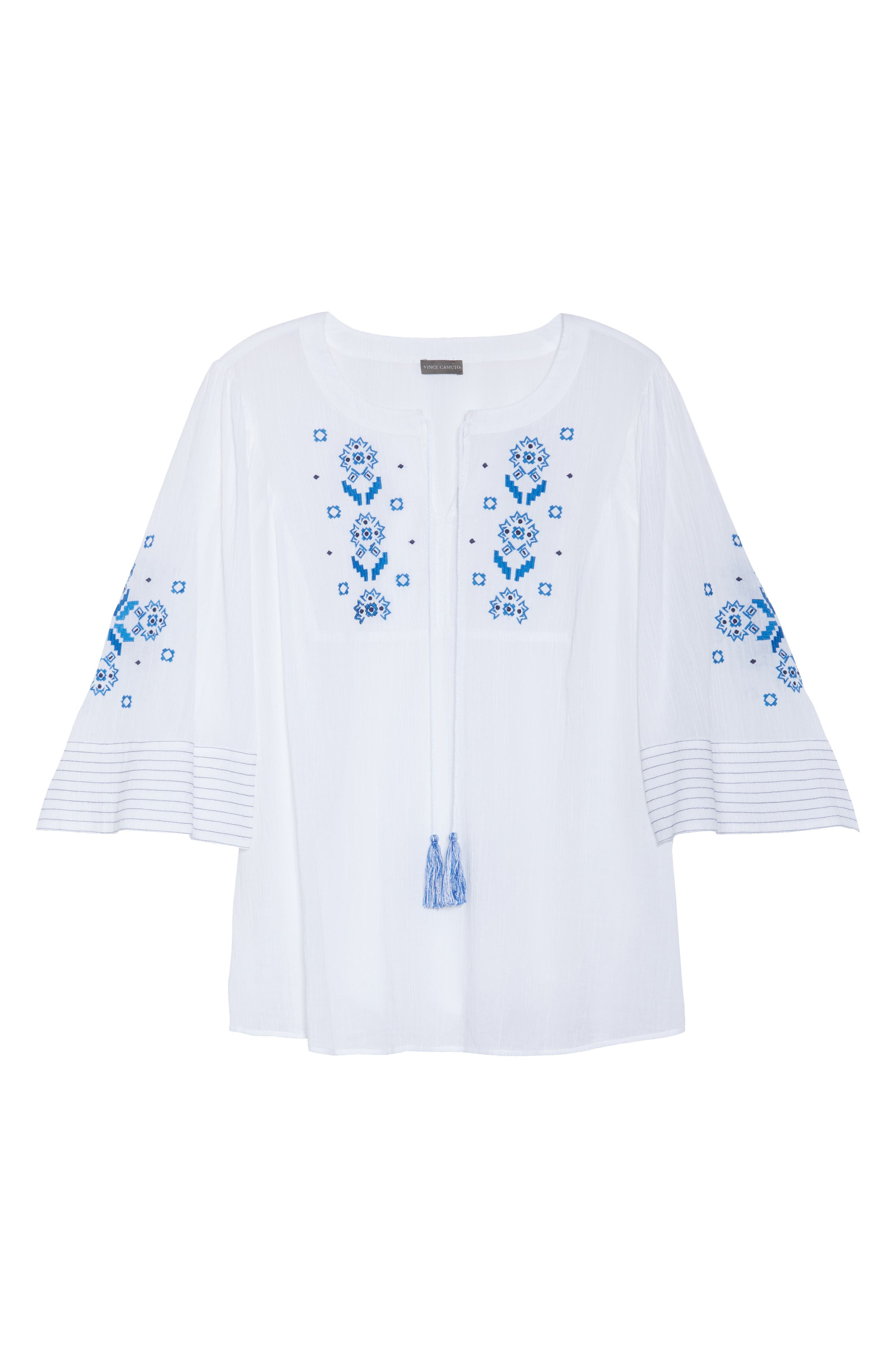 Bell Sleeve Embroidered Top,                             Alternate thumbnail 7, color,                             Ultra White
