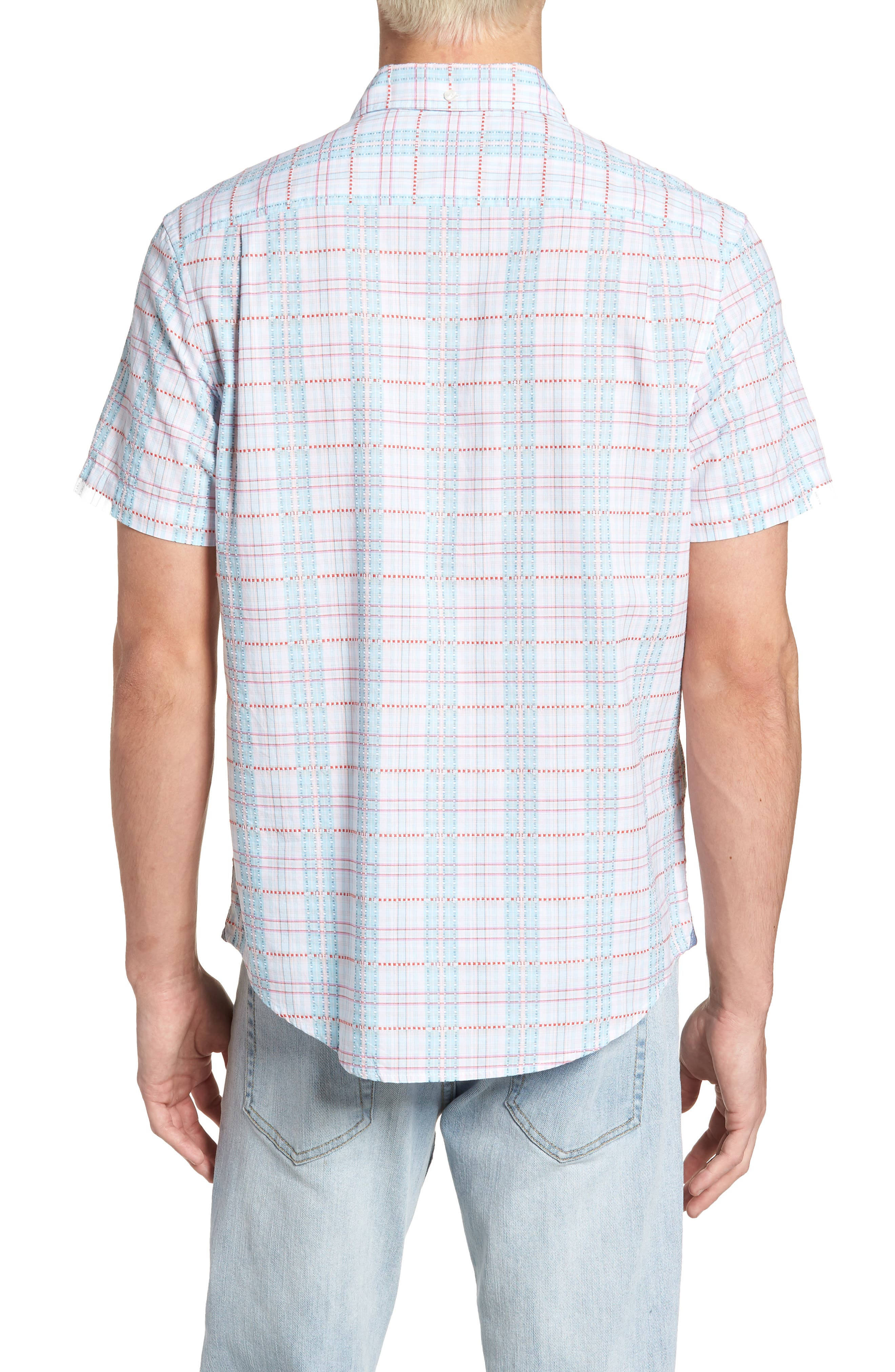 Dobby Plaid Woven Shirt,                             Alternate thumbnail 2, color,                             Bright White