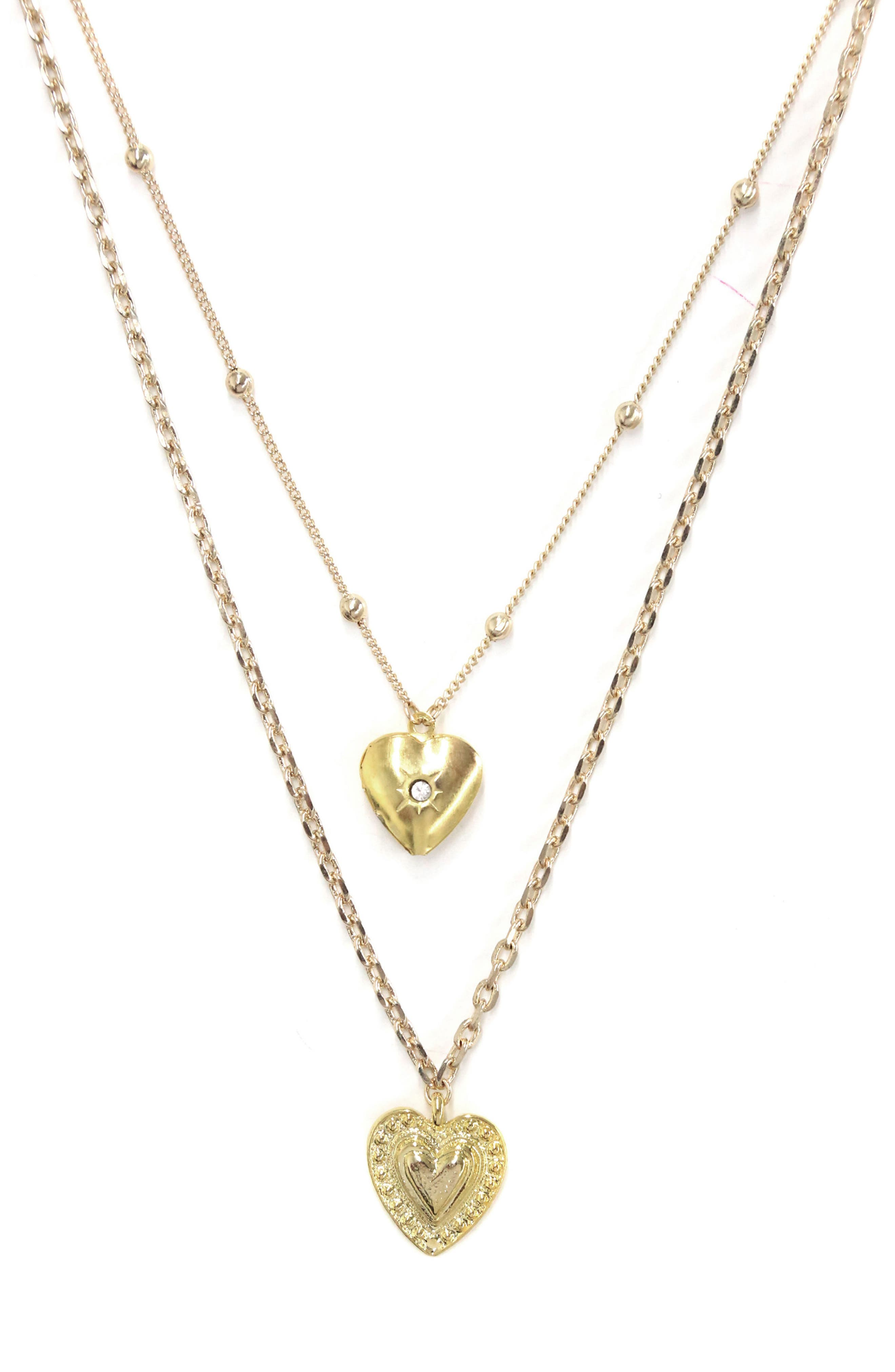 Set of 2 Heart Necklaces,                             Main thumbnail 1, color,                             Gold